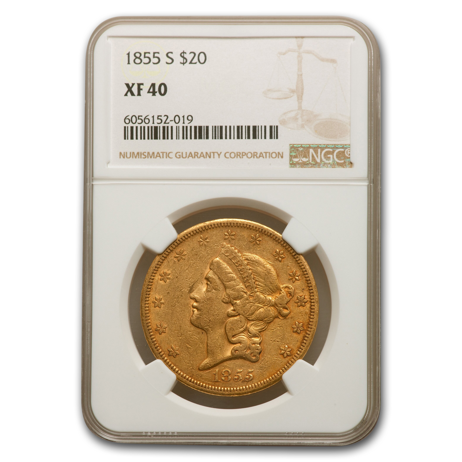 1855-S $20 Liberty Gold Double Eagle XF-40 NGC