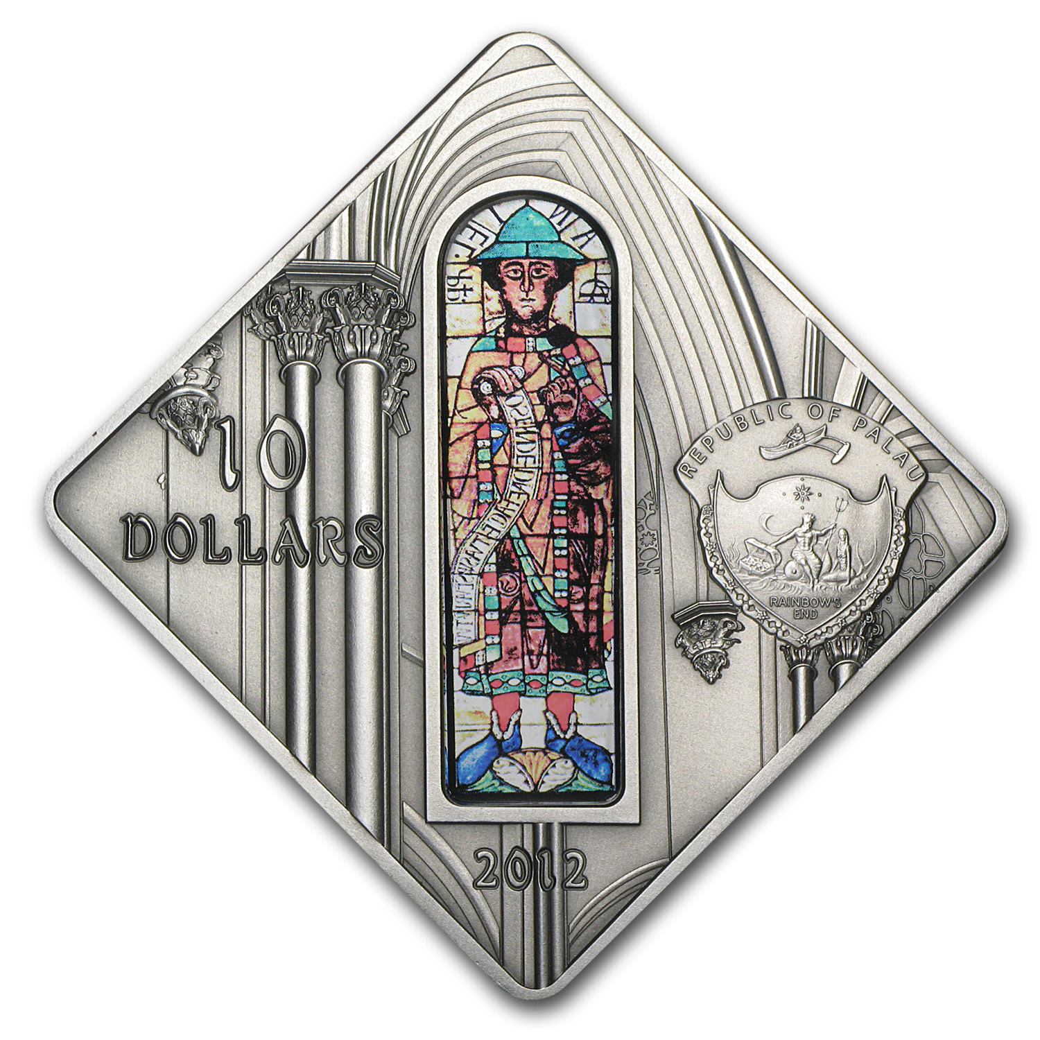 2012 Palau Proof Silver $10 Holy Windows Augsburg Cathedral