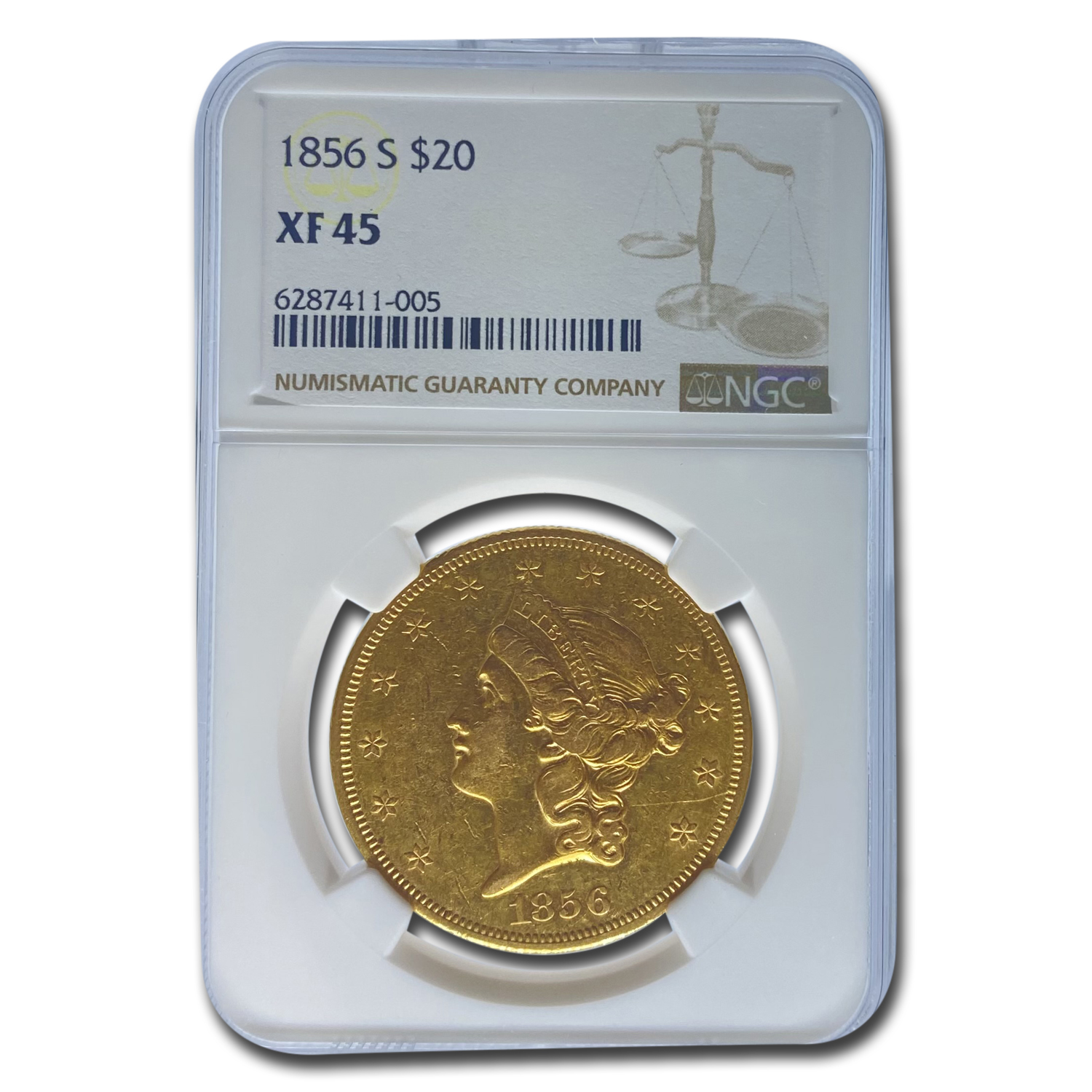 1856-S $20 Gold Liberty Double Eagle - XF-45 NGC
