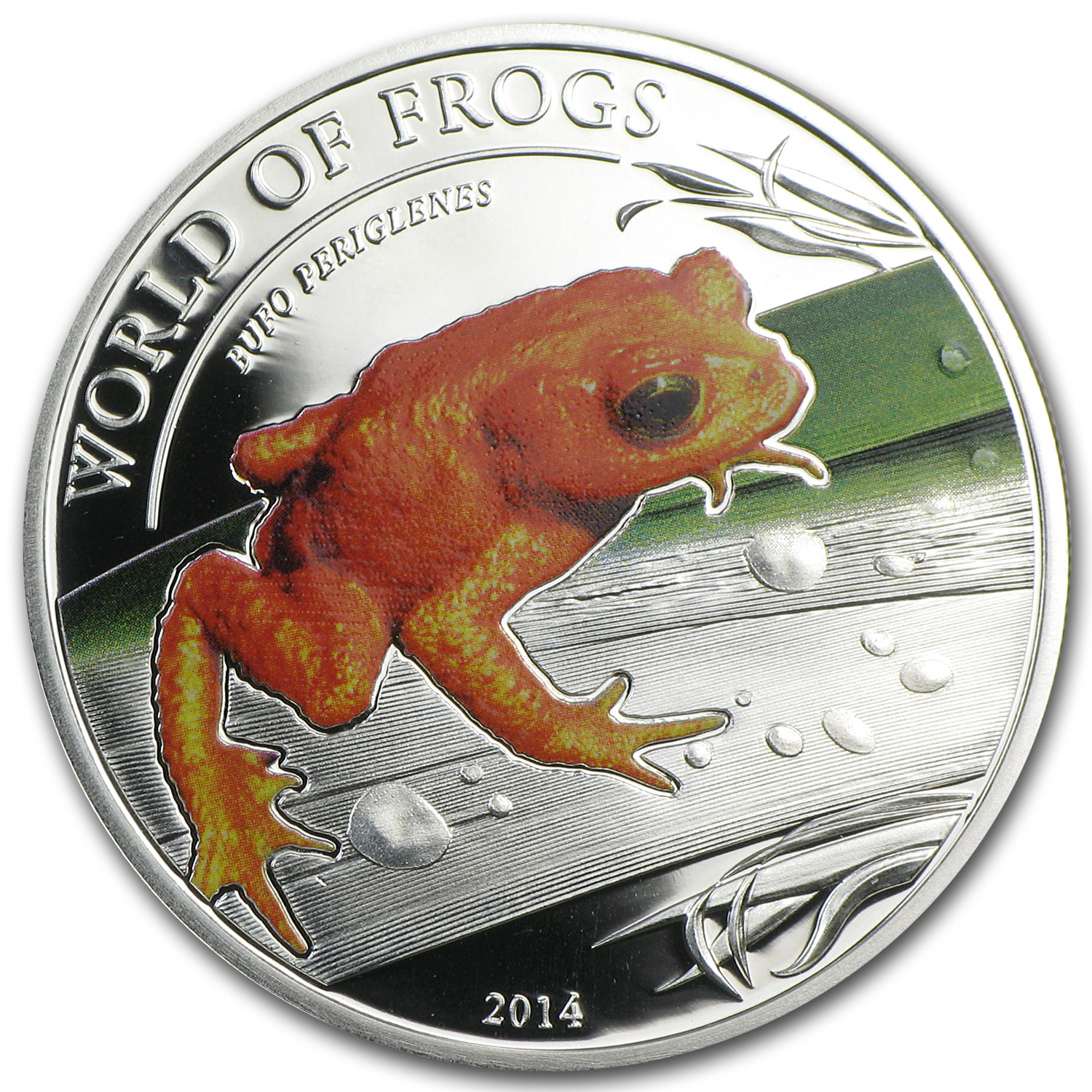 Palau 2014 Silver Proof $2 World of Frogs - Golden Frog