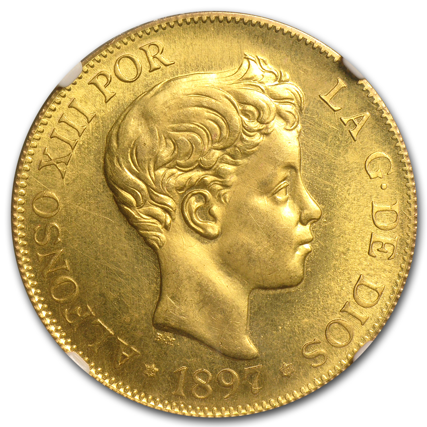 1897 Spain Gold 100 Pesetas Alfonso XIII MS-64 NGC