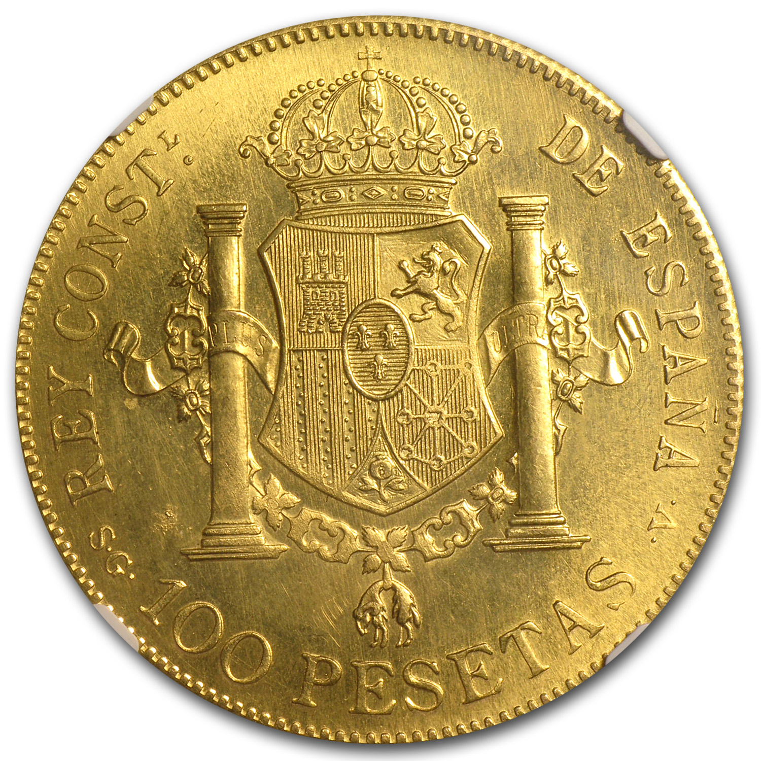 1897 Spain Gold 100 Pesetas MS-64 NGC