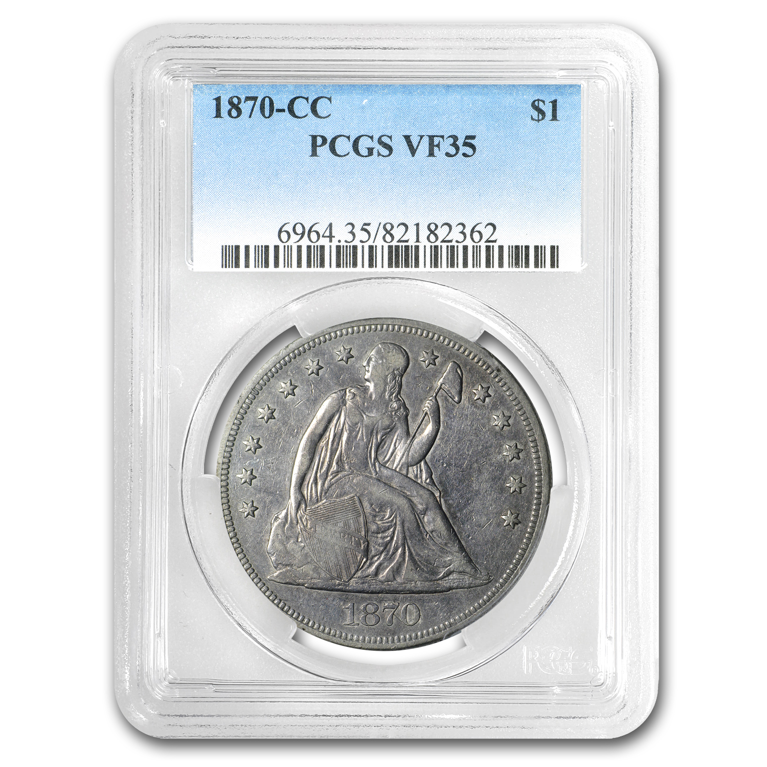 1870-CC Liberty Seated Dollar - Very Fine-35 PCGS - CAC
