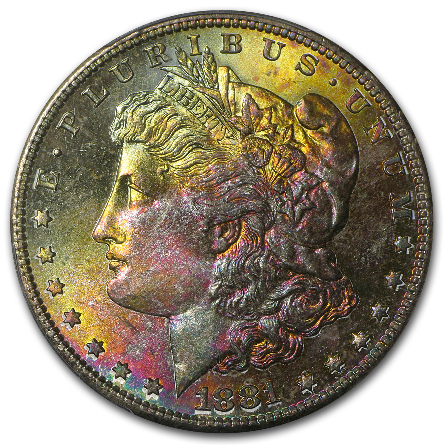 1881-S Morgan Dollar MS-67 PCGS - Pink and Gold Obverse - CAC