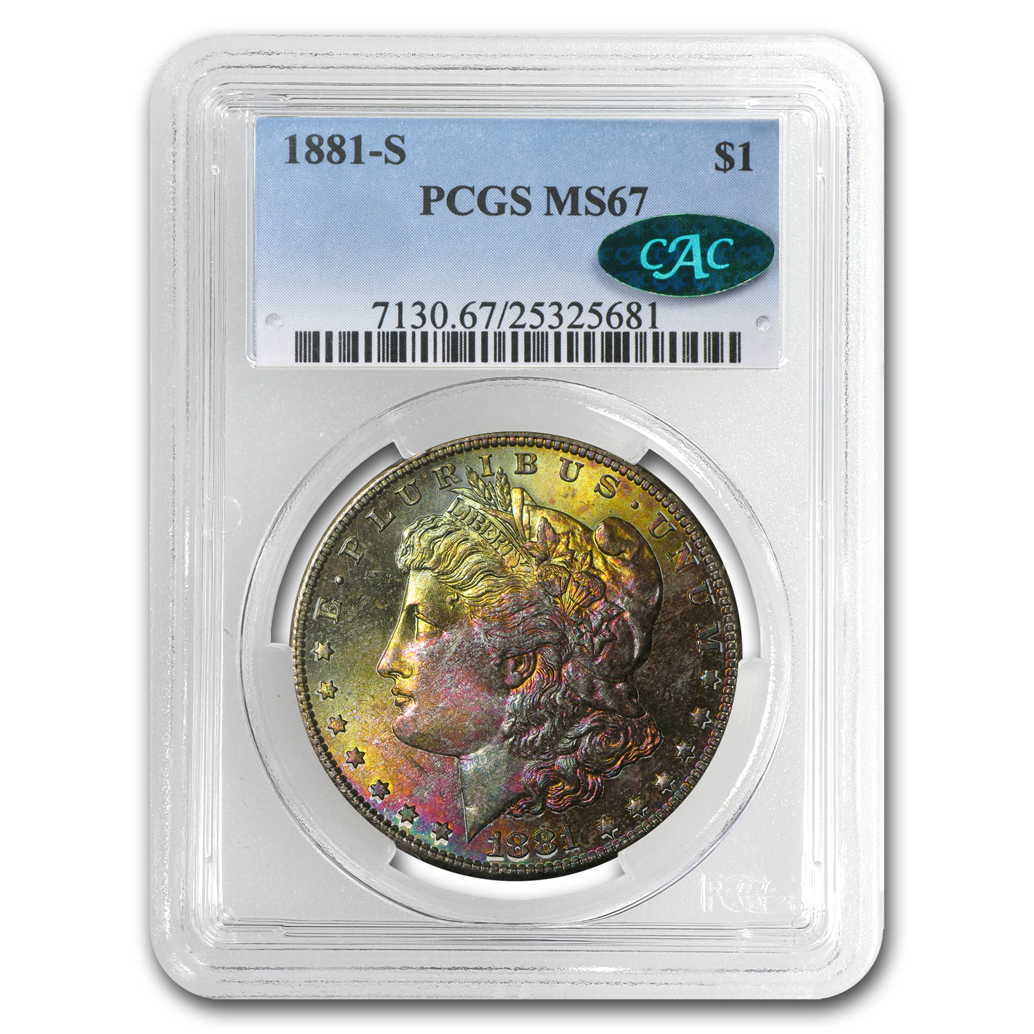 1881-S Morgan Dollar MS-67 PCGS (CAC, Pink & Gold Obv)