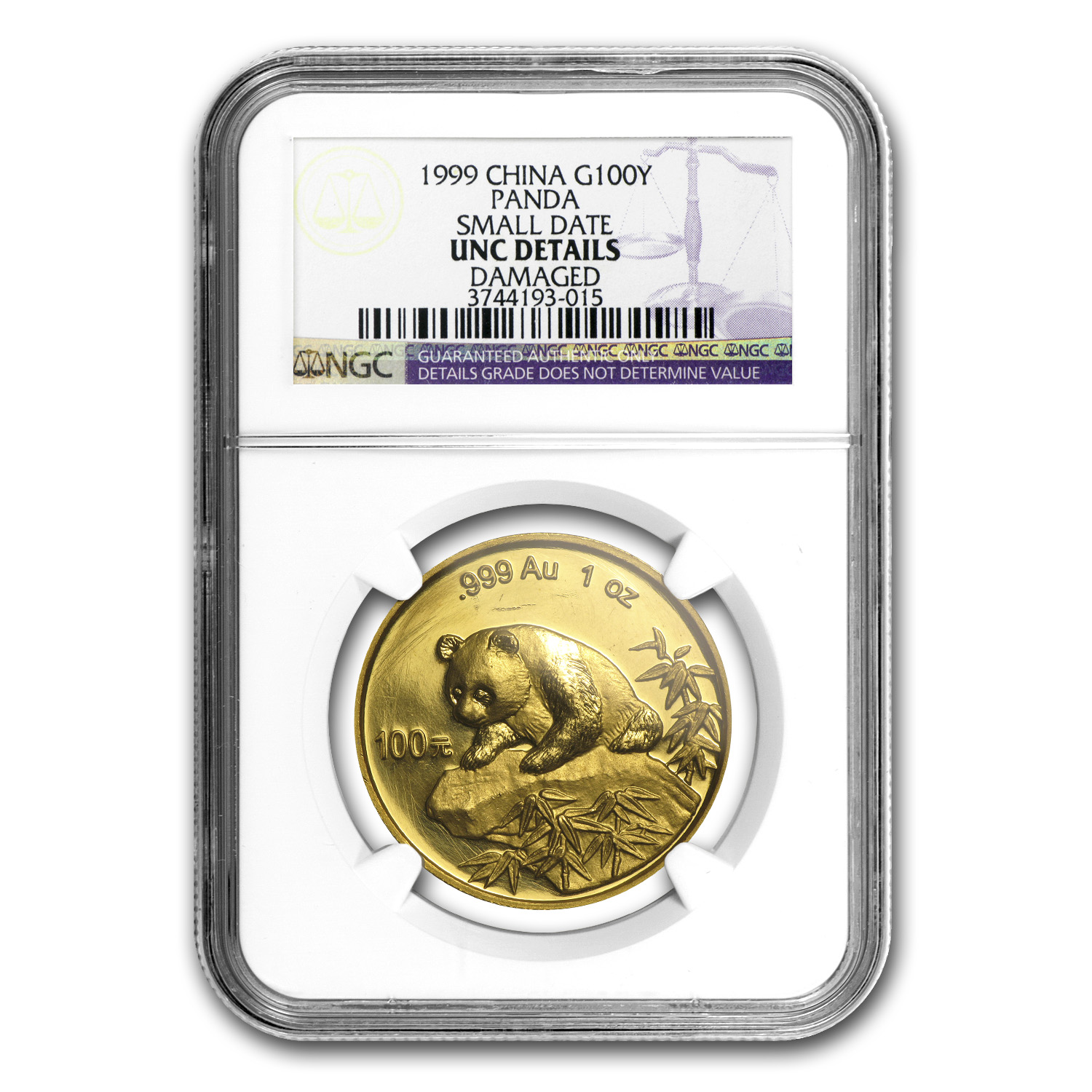 1999 China 1 oz Gold Panda Small Date Unc Details NGC