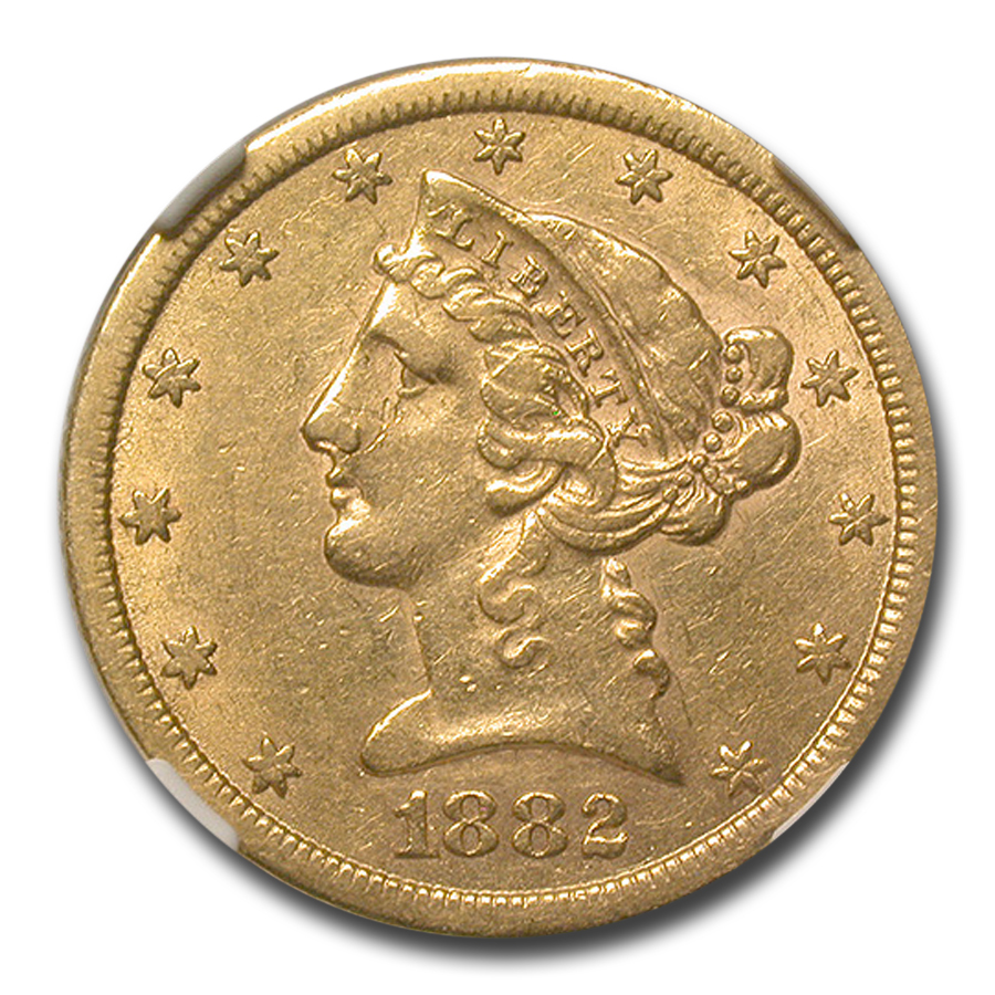 1882-CC $5 Liberty Gold Half Eagle - AU-53 NGC