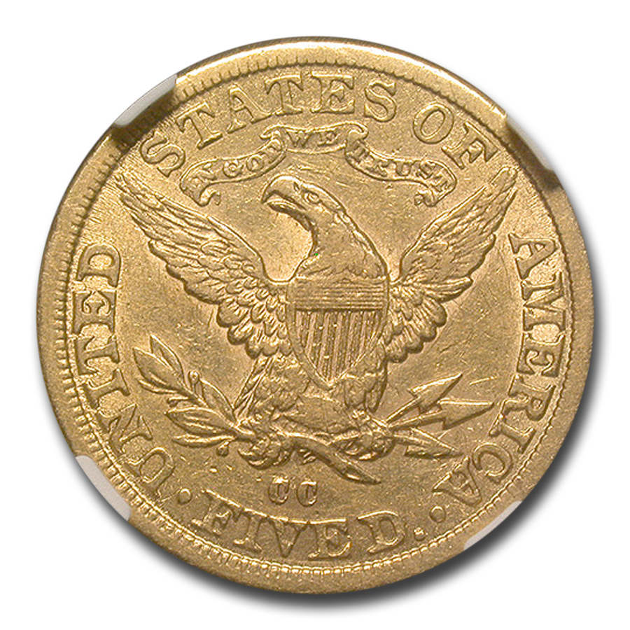 1882-CC $5 Liberty Gold Half Eagle AU-53 NGC