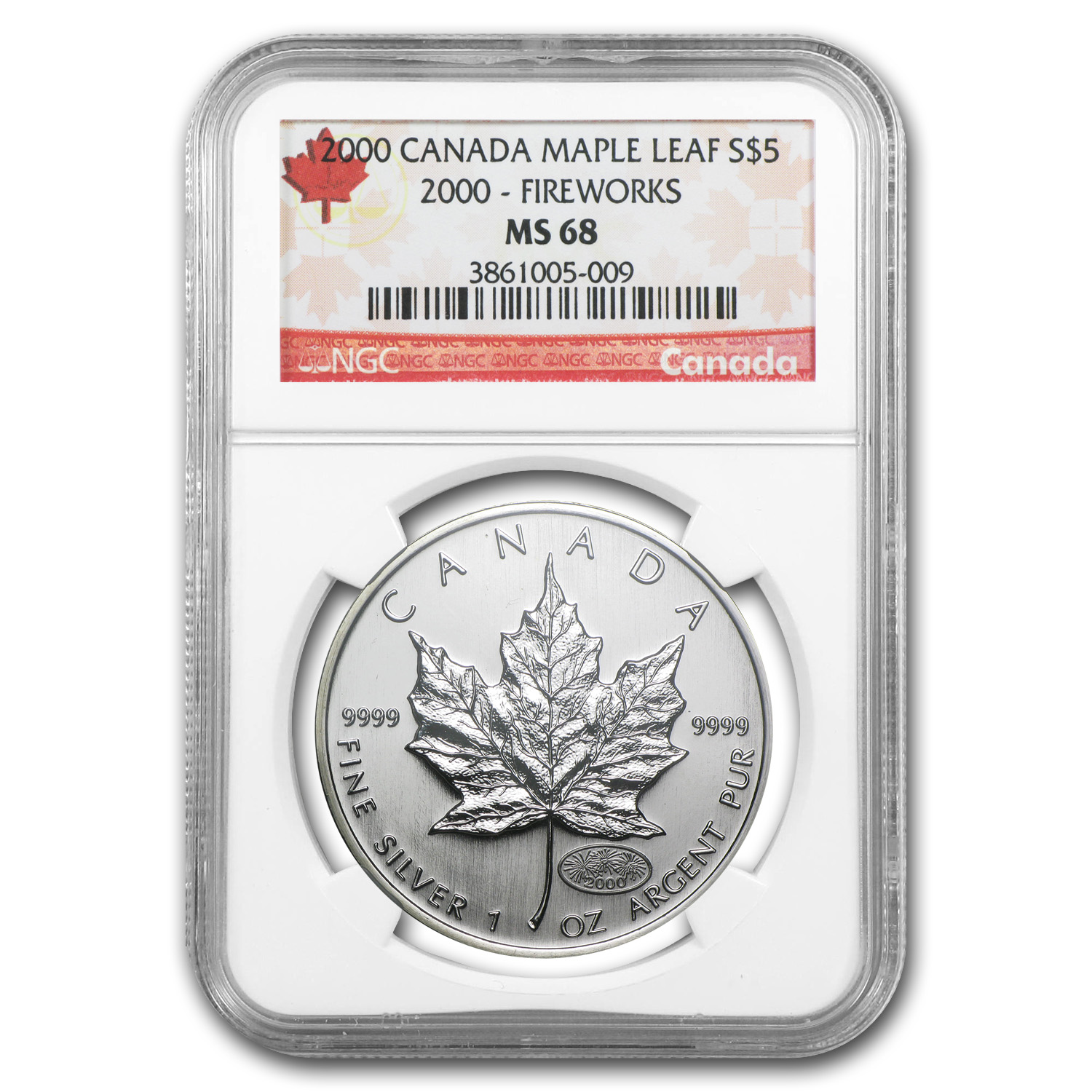 2000 1 oz Silver Canadian Maple Leaf- Fireworks Privy - MS-68 NGC