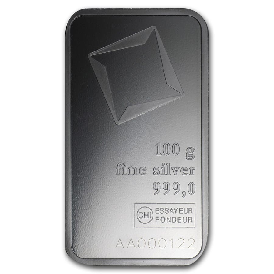 100 gram Silver Bar - Valcambi (With Assay)