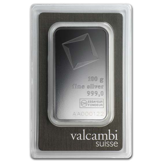 100 gram Silver Bars - Valcambi (With Assay)