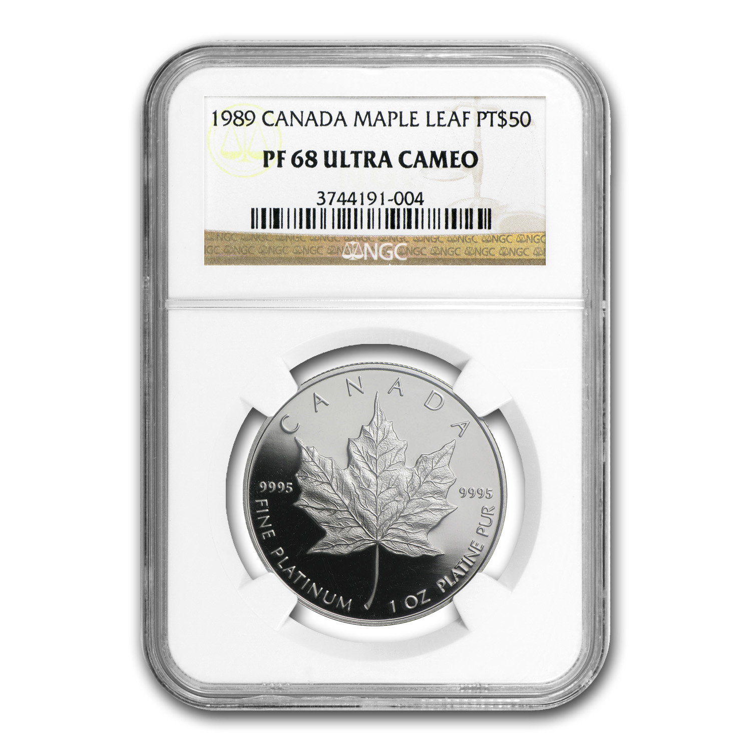 1989 1 oz Canadian Platinum Maple Leaf PF-68 UCAM NGC