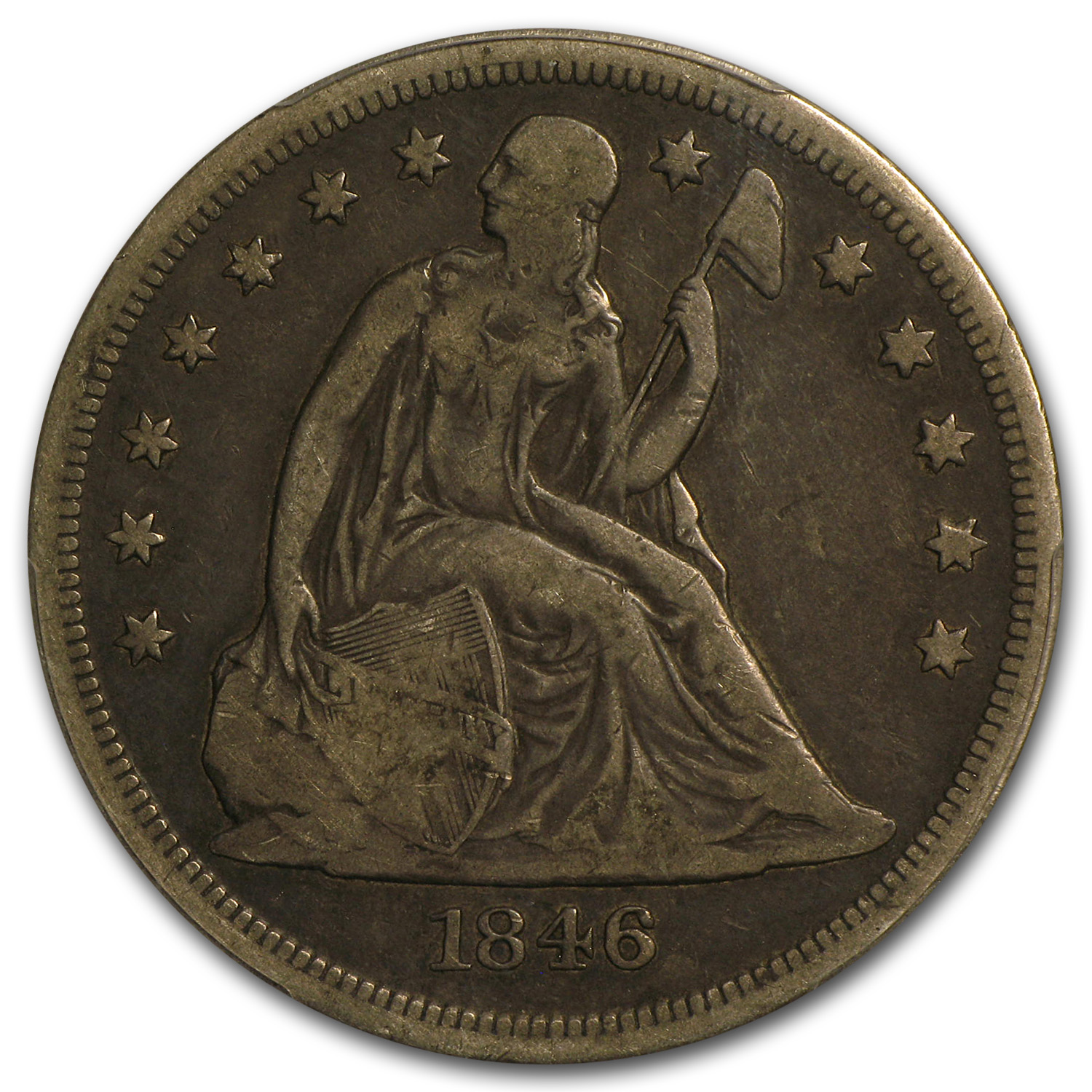 1846-O Liberty Seated Dollar - VF-20 PCGS