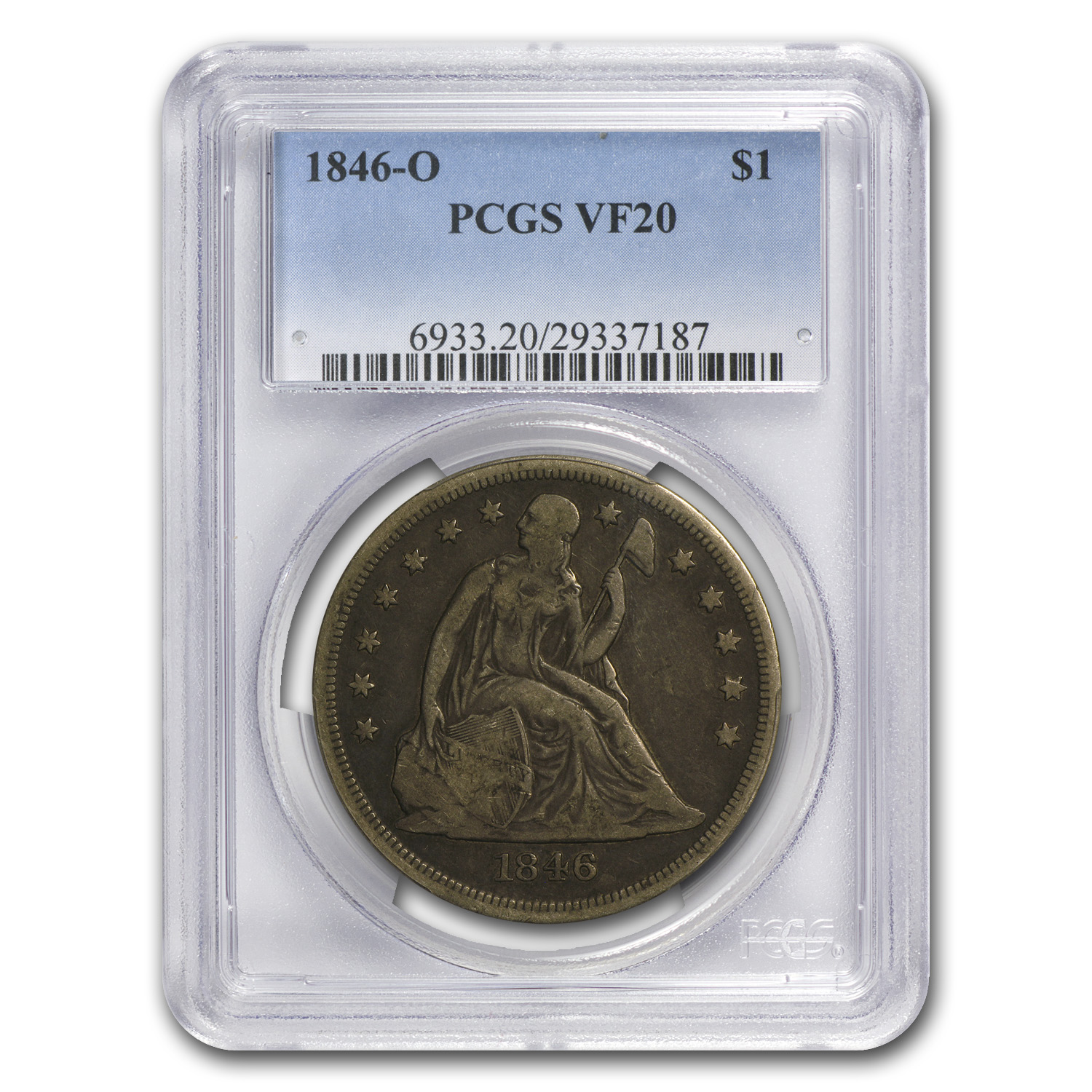 1846-O Liberty Seated Dollar VF-20 PCGS