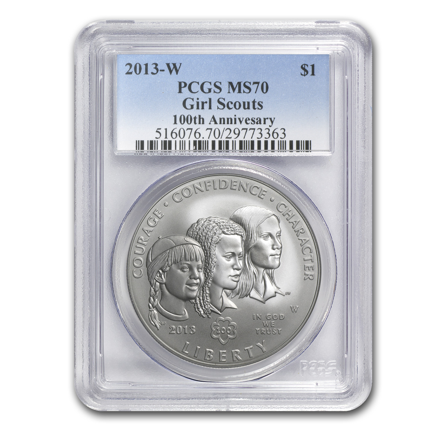 2013-W Girl Scouts $1 Silver Commemorative - MS-70 PCGS