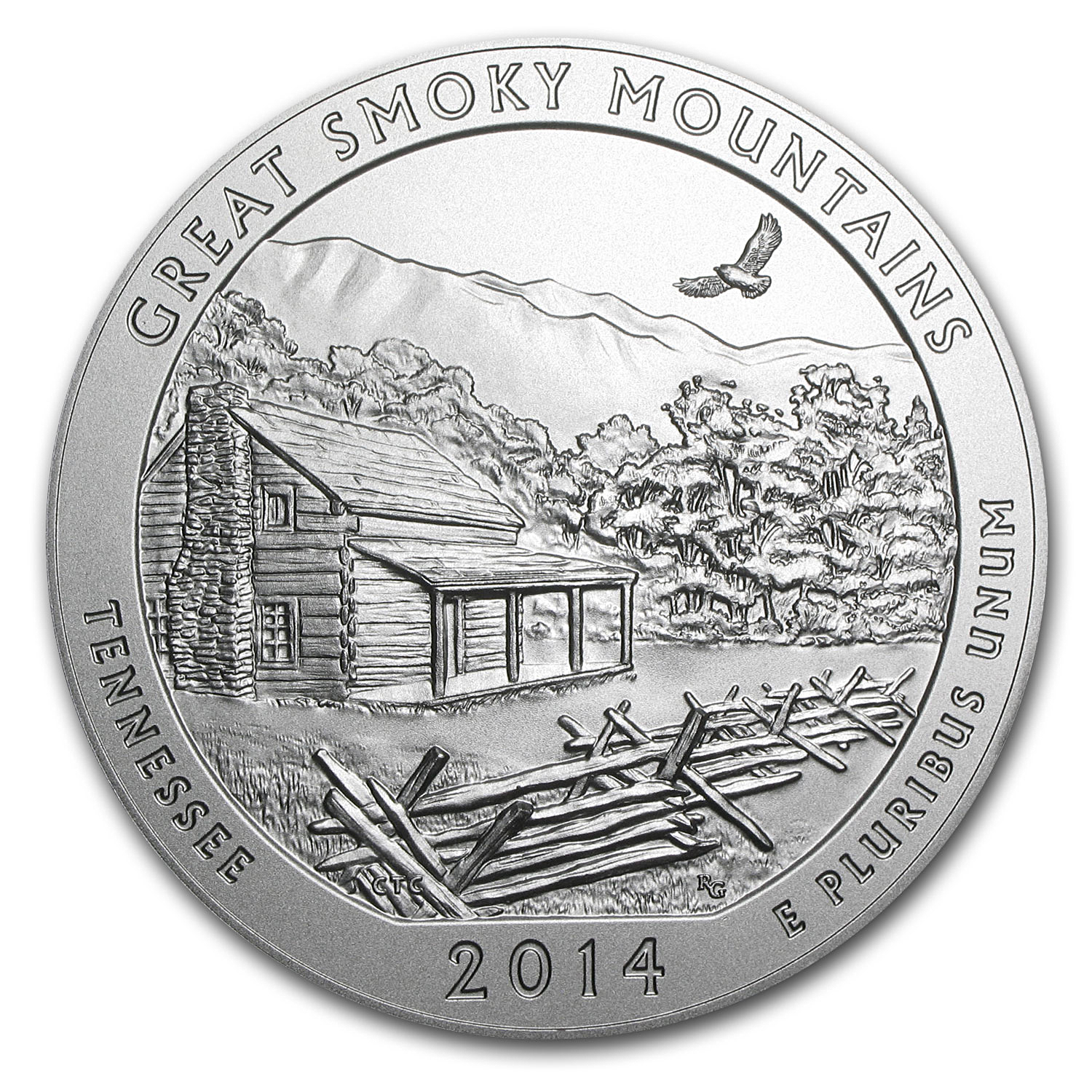 2014-P 5 oz Silver ATB Great Smoky Mountains (w/Box & COA)