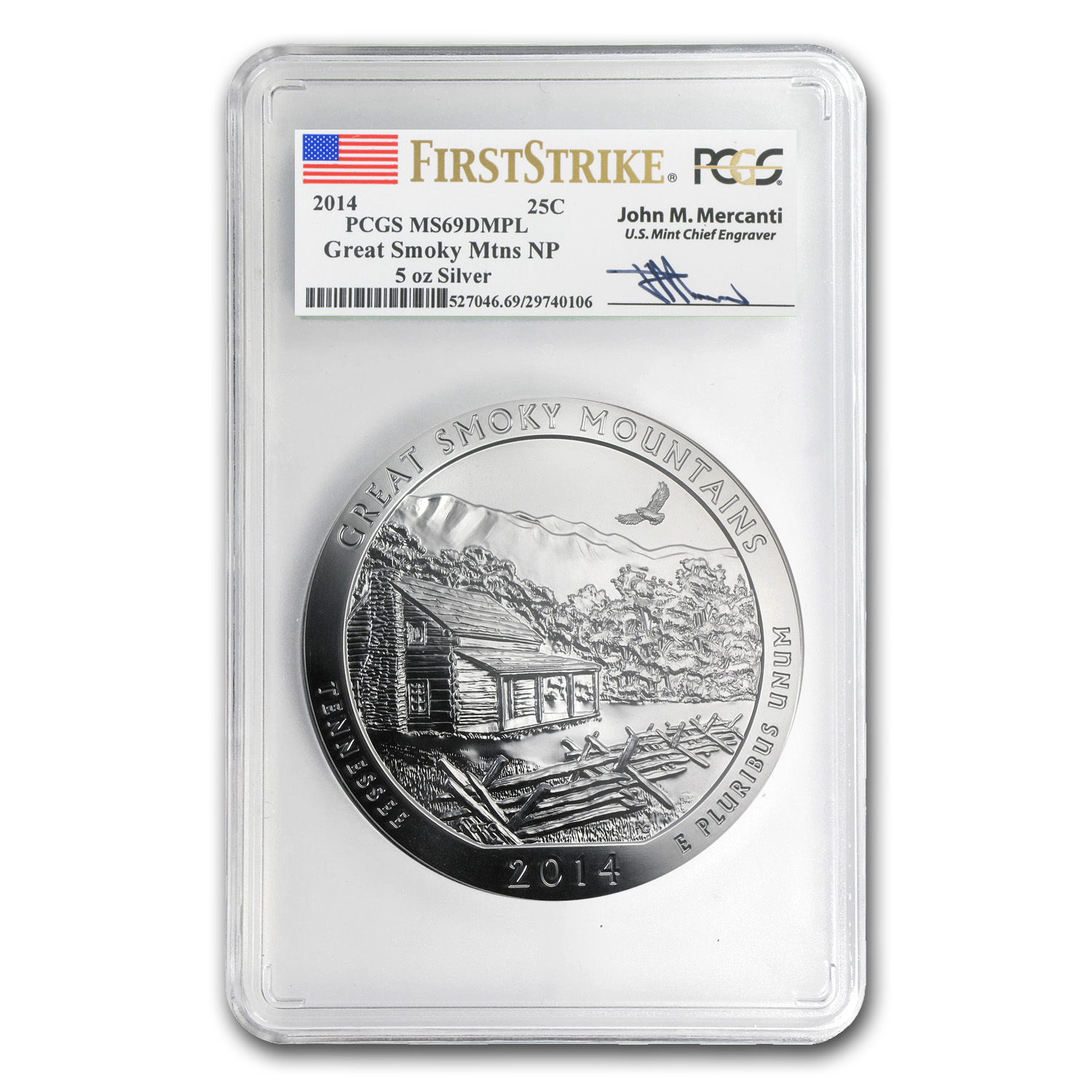 2014 5 oz Silver ATB Great Smoky Mt MS-69 DMPL PCGS (FS,Mercanti)