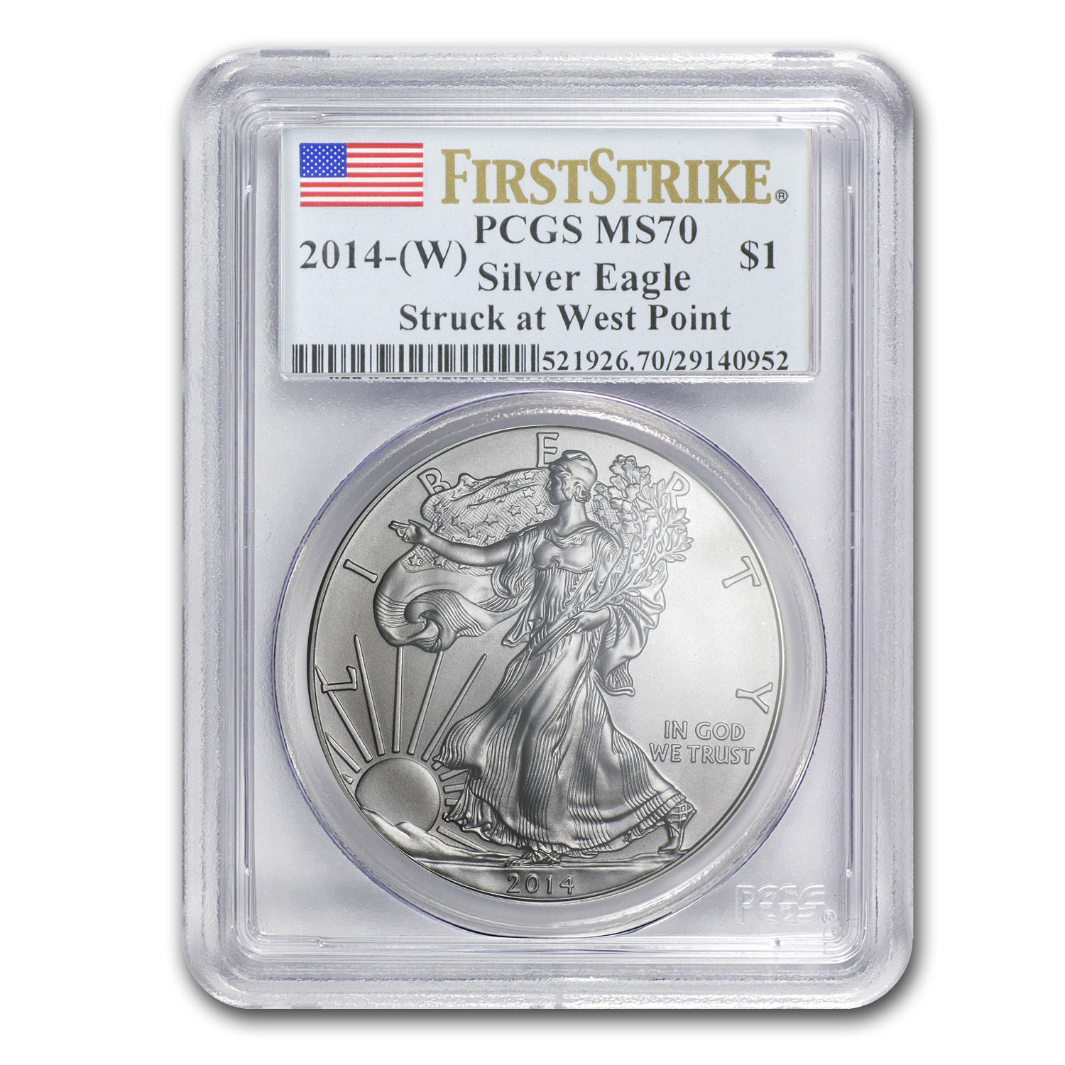 2014 6-Coin Silver American Eagle Set MS-69/70 PCGS (1st Strike)