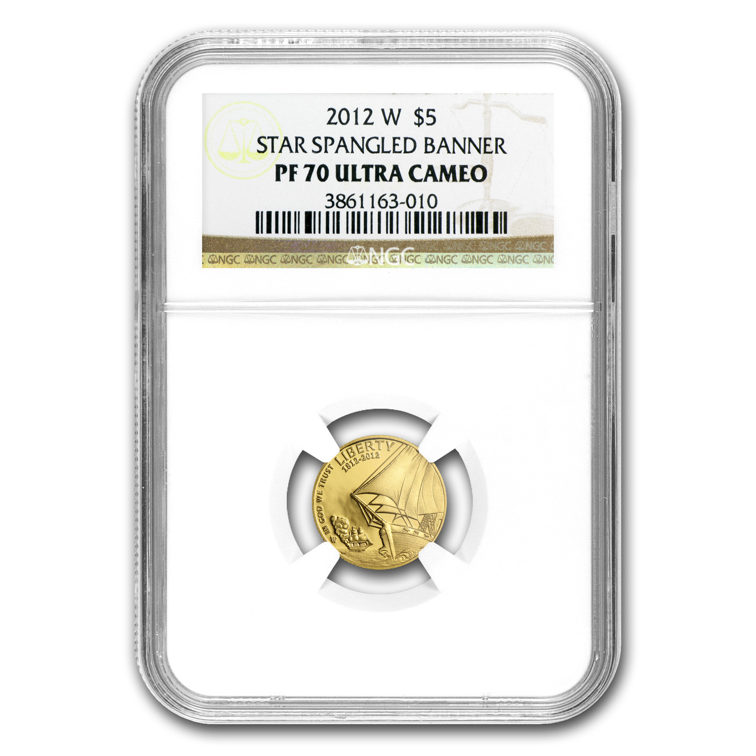 2012-W $5 Gold Commem Star Spangled Banner PF-70 NGC