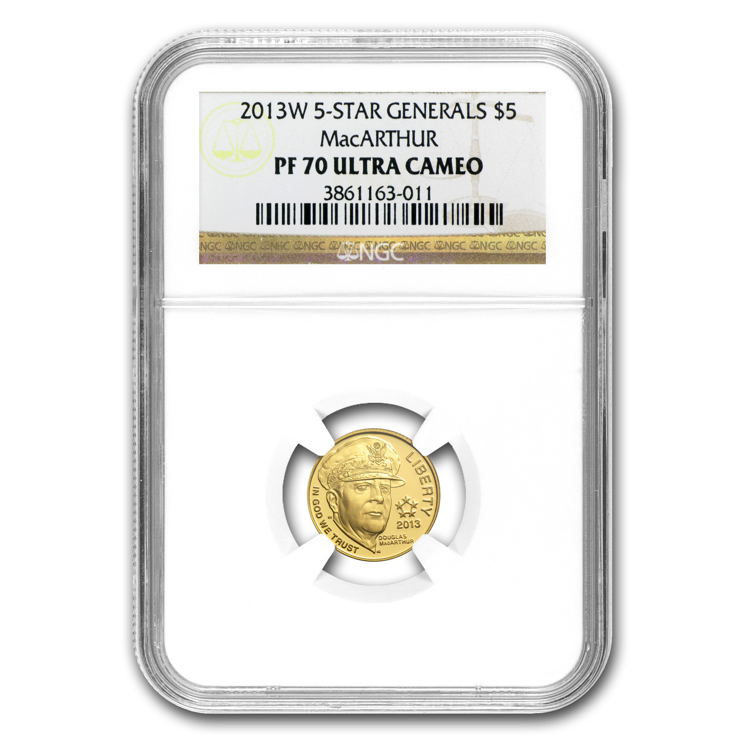 2013-W Gold $5 Commemorative Five Star General PF-70 NGC