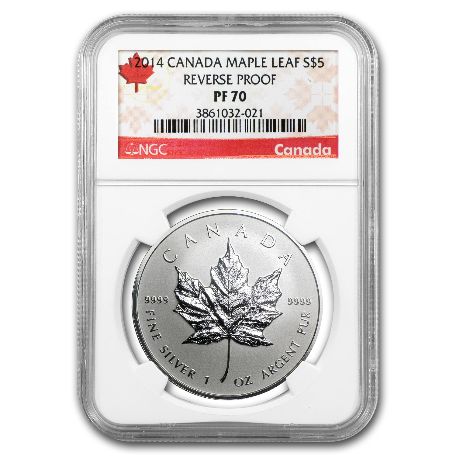2014 1 oz Silver Reverse Proof Canadian Maple Leaf - PF-70 NGC