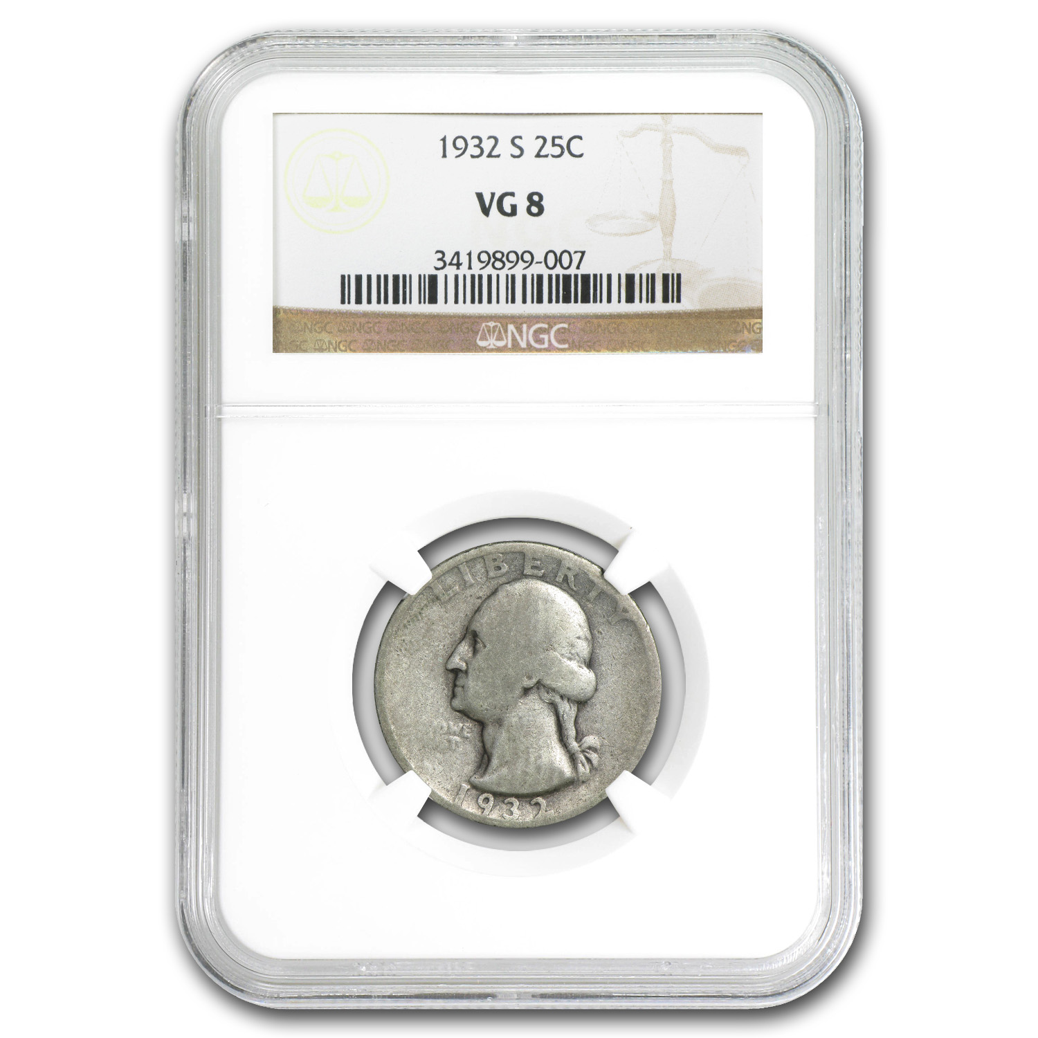 1932-S Washington Quarter - VG-8 NGC