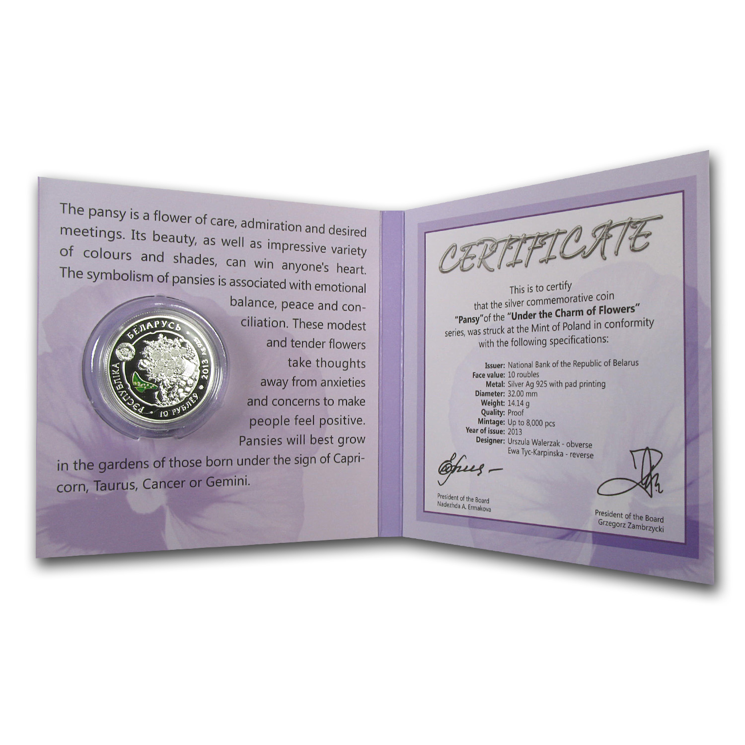 2013 Belarus Silver Proof Under the Charm of Flowers Pansy