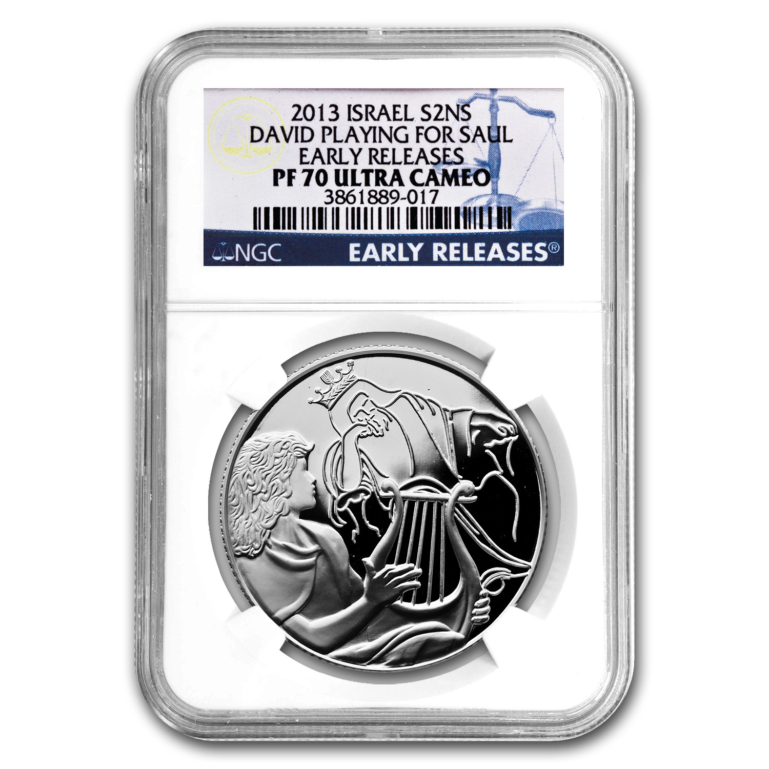 2013 Israel Silver 2 NIS David Playing for Saul PF-70 NGC (ER)