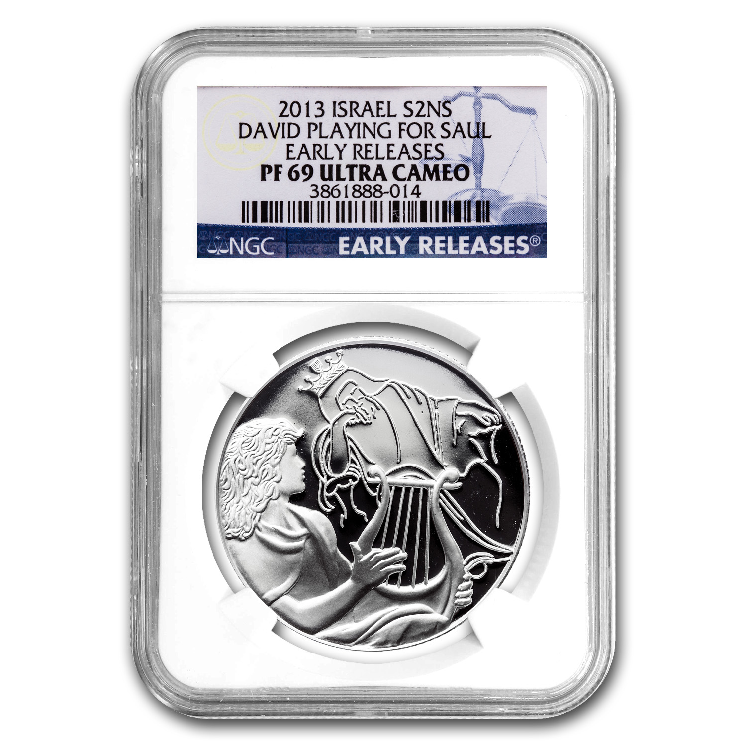2013 Israel Silver 2 NIS David Playing for Saul PF-69 NGC (ER)