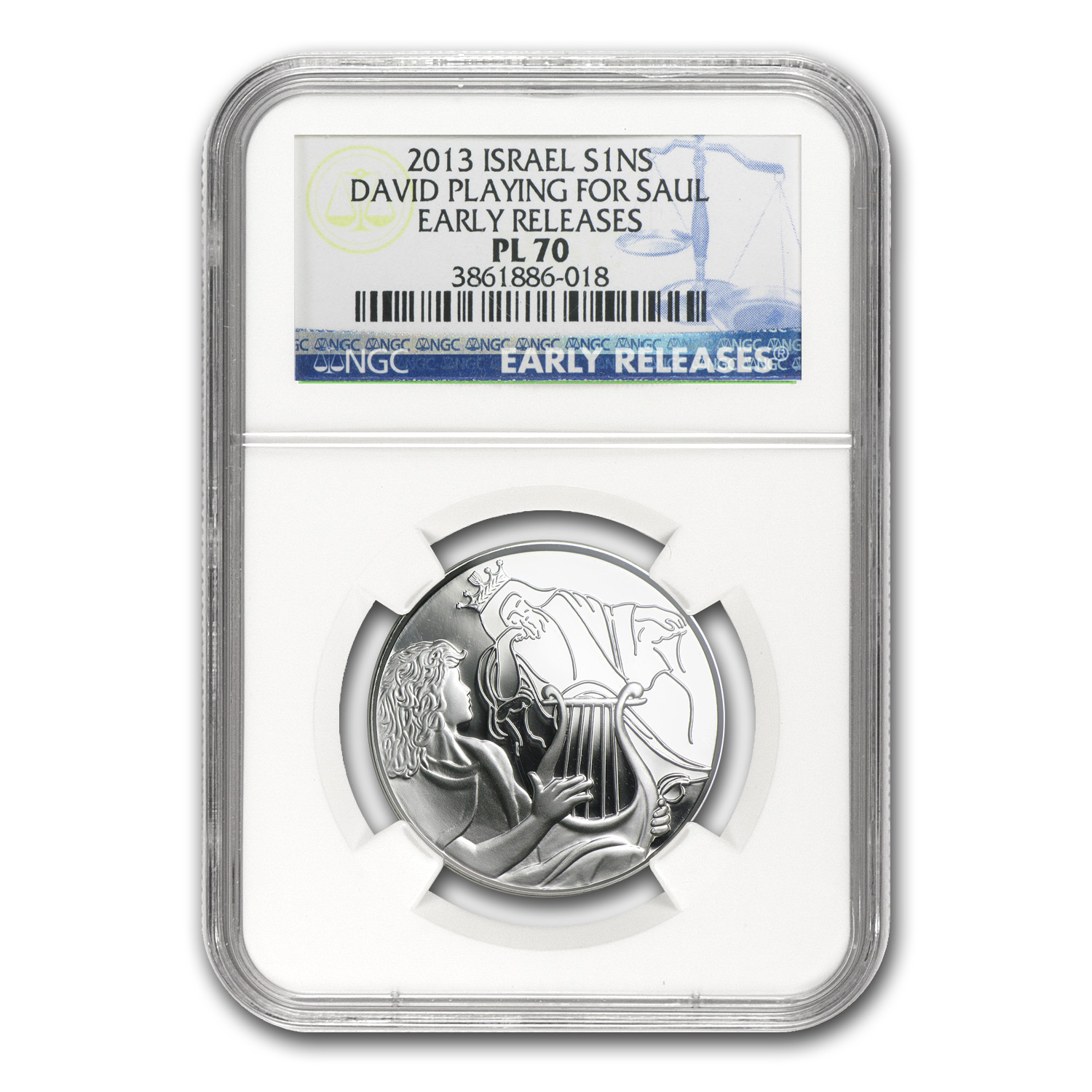 2013 Israel Silver 1 NIS David Playing for Saul MS-70 NGC (ER)