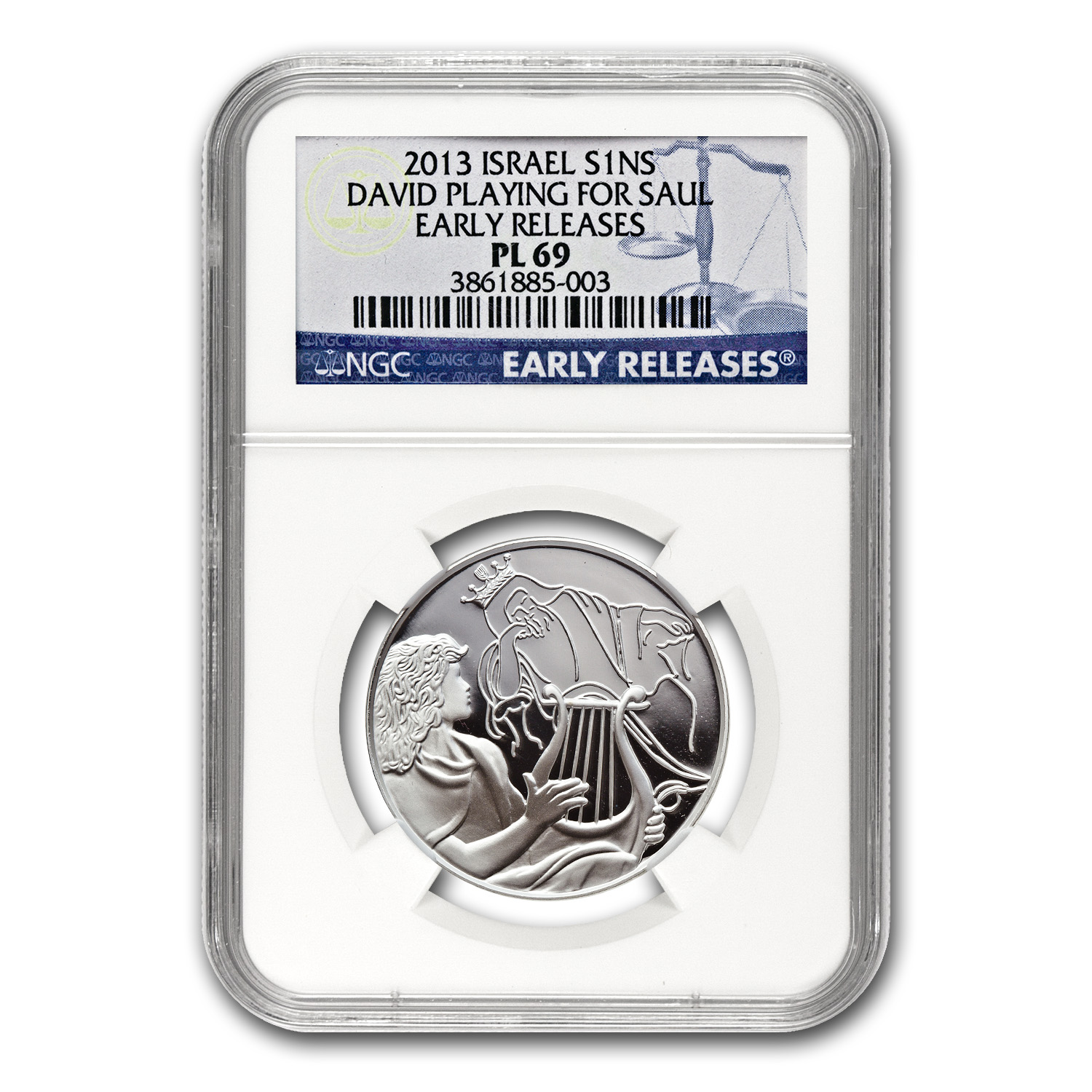 2013 Israel Silver 1 NIS David Playing for Saul MS-69 NGC (ER)