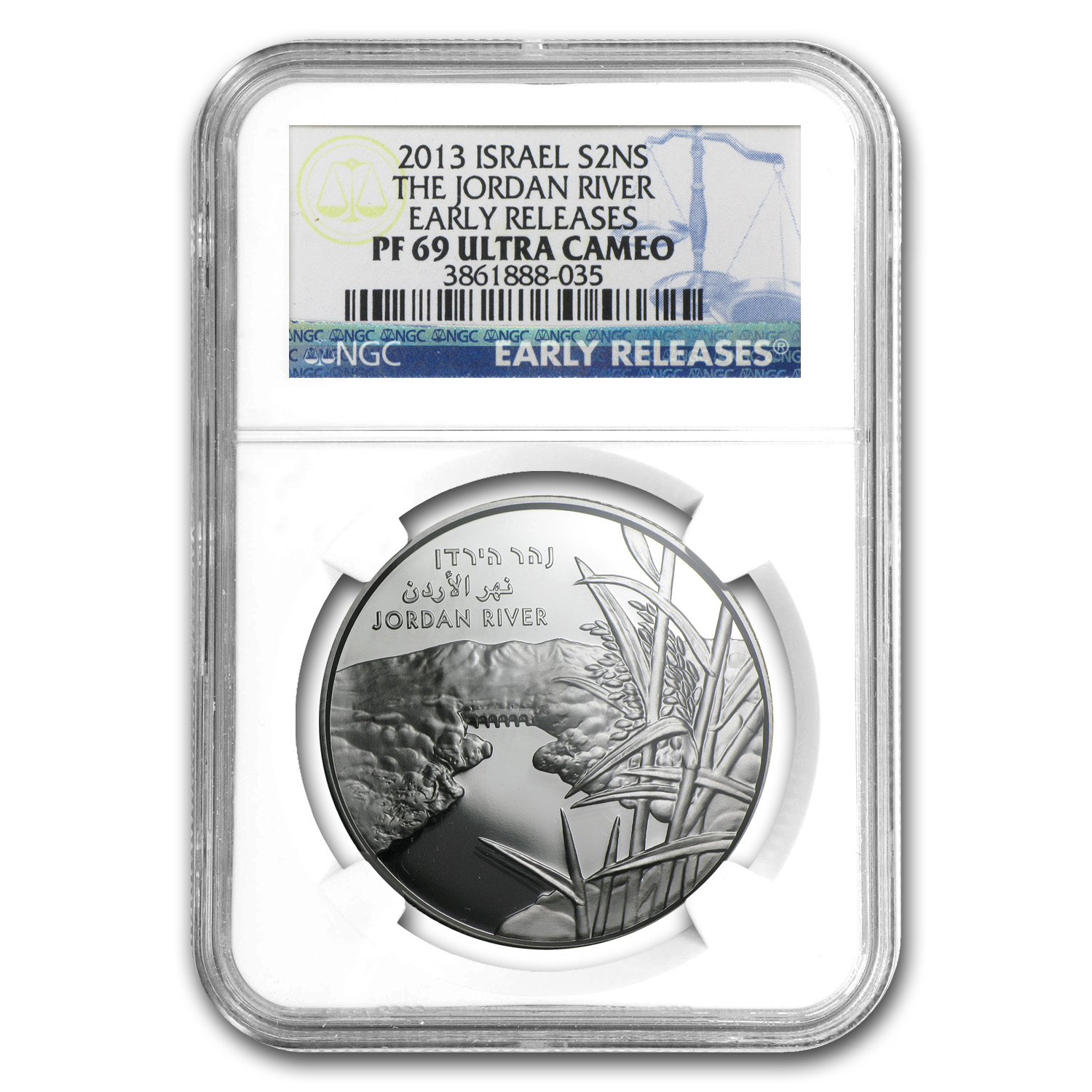 2013 Israel The Jordan River Proof 1 oz Silver PF-69 UCAM ER NGC