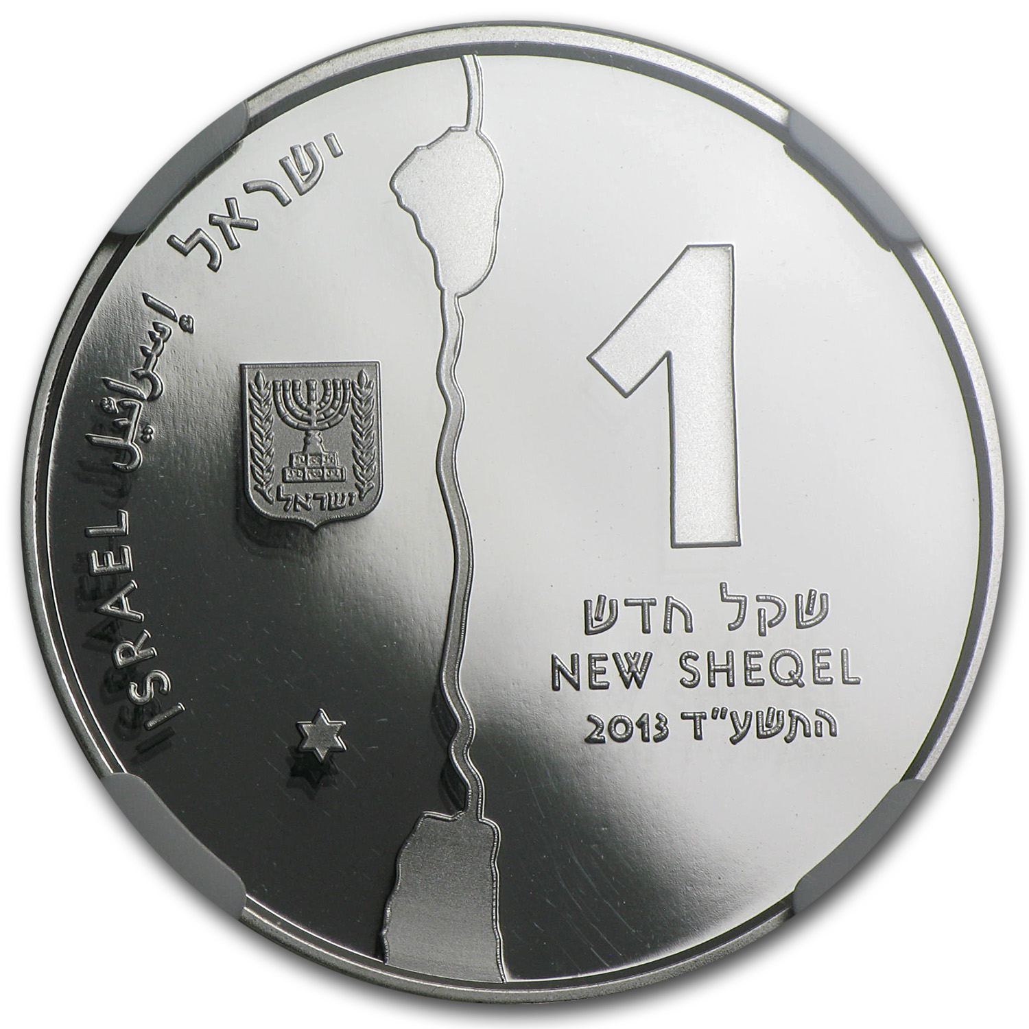 2013 Israel Silver 1 NIS The Jordan River MS-69 NGC (ER)