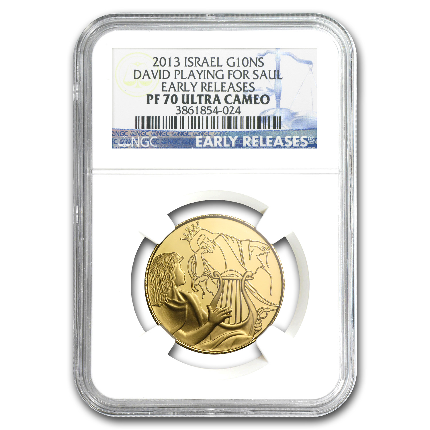 2013 Israel 1/2 oz Prf Gold David Playing for Saul PF-70 NGC (ER)