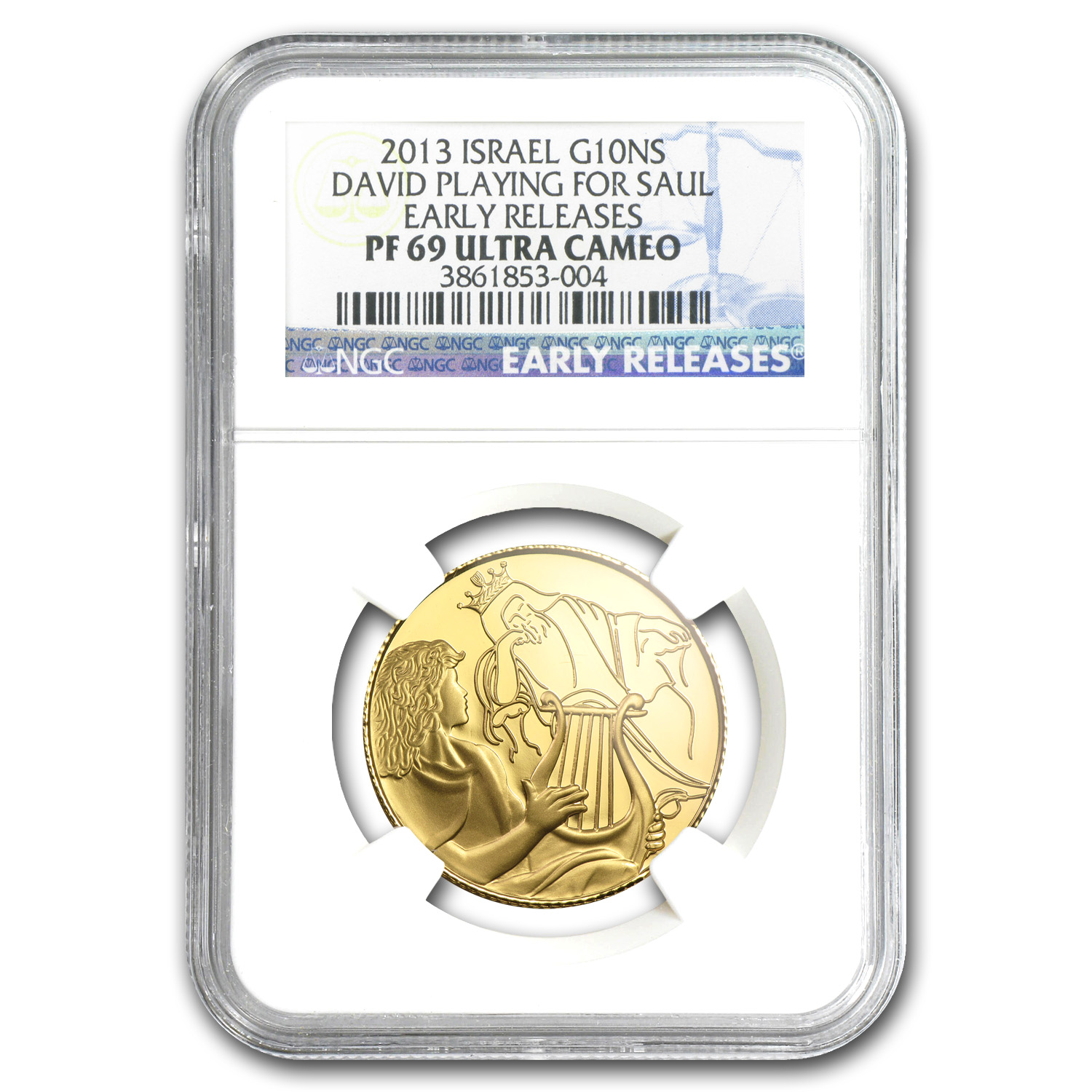 2013 Israel David Playing for Saul 1/2 oz PF-69 UCAM ER NGC