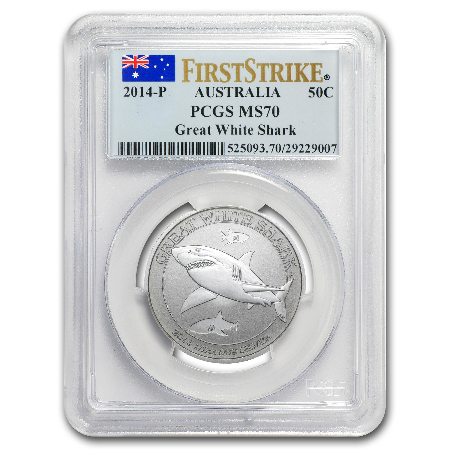 2014 1/2 oz Silver Australian Great White Shark MS-70 PCGS (FS)