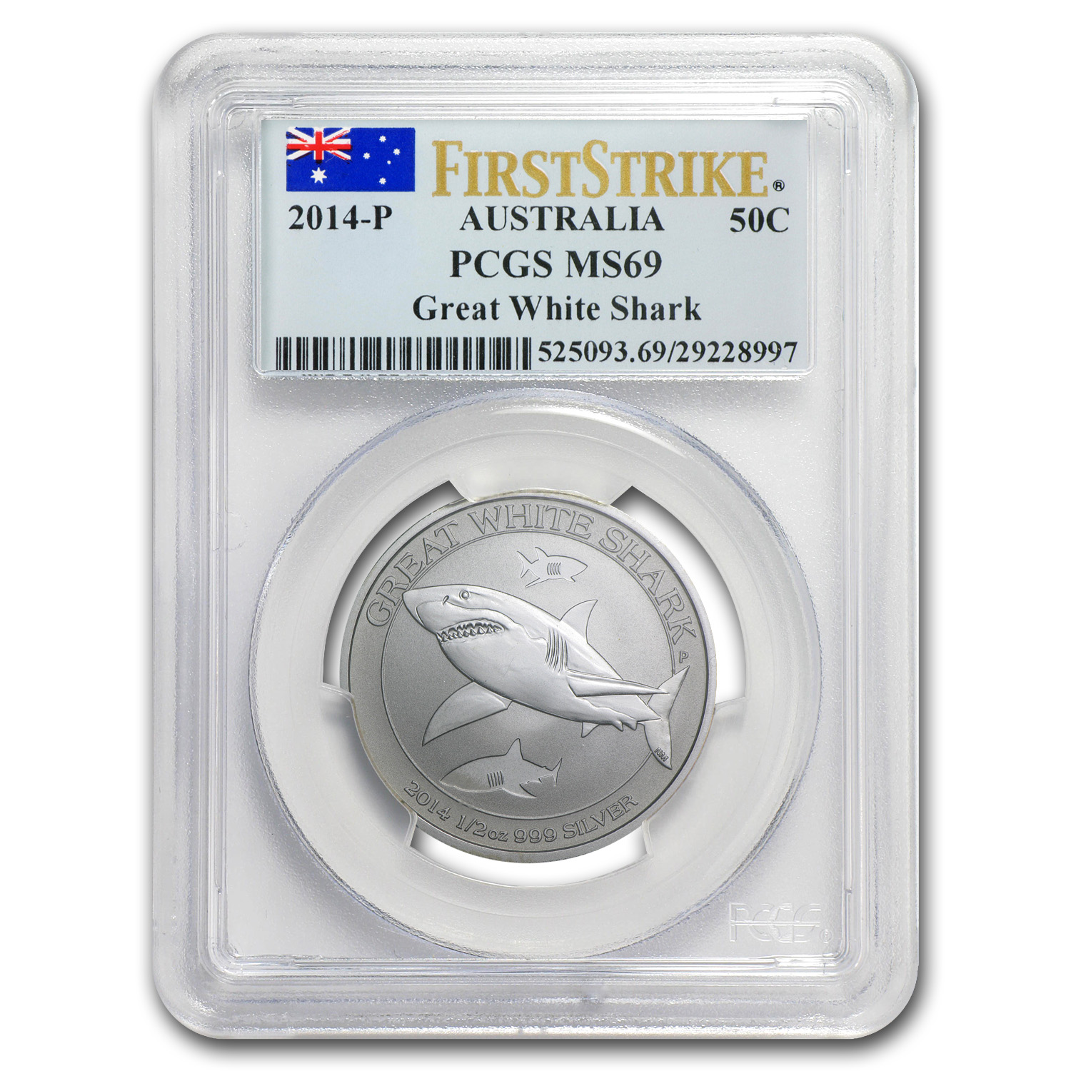 2014 Australia 1/2 oz Silver Great White Shark MS-69 PCGS (FS)