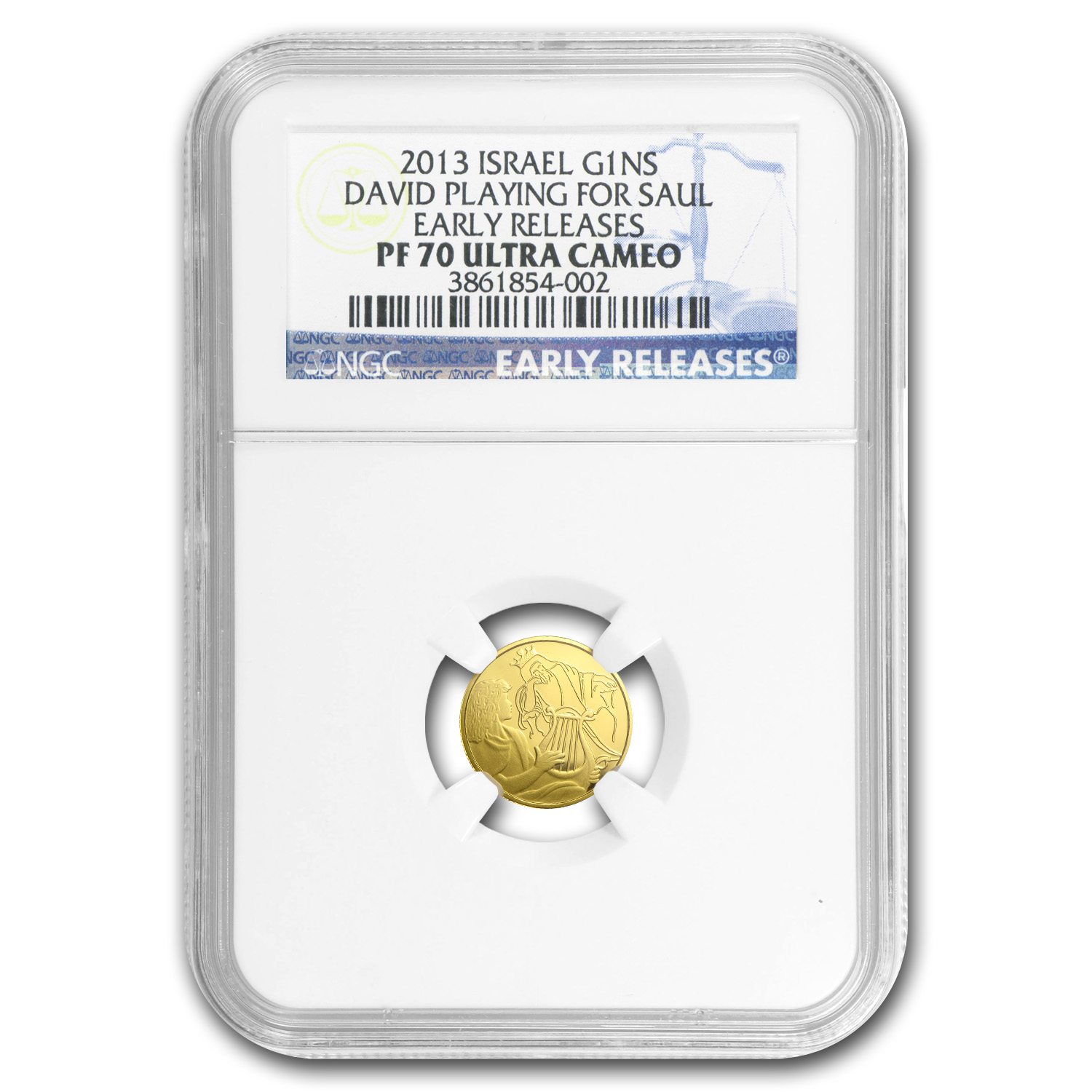 2013 Israel 1/25 oz Pf Gold David Playing for Saul PF-70 NGC (ER)