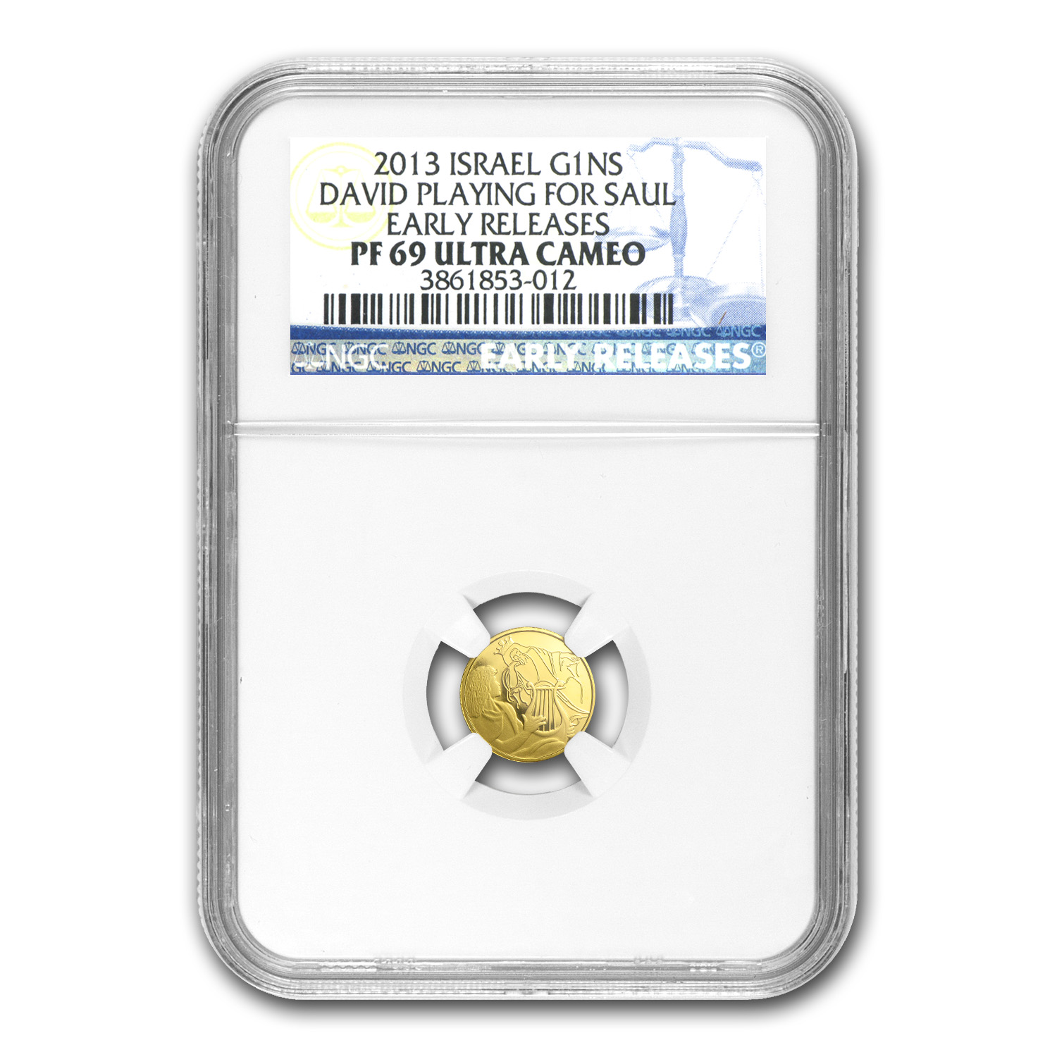 2013 Israel 1/25 oz Pf Gold David Playing for Saul PF-69 NGC (ER)