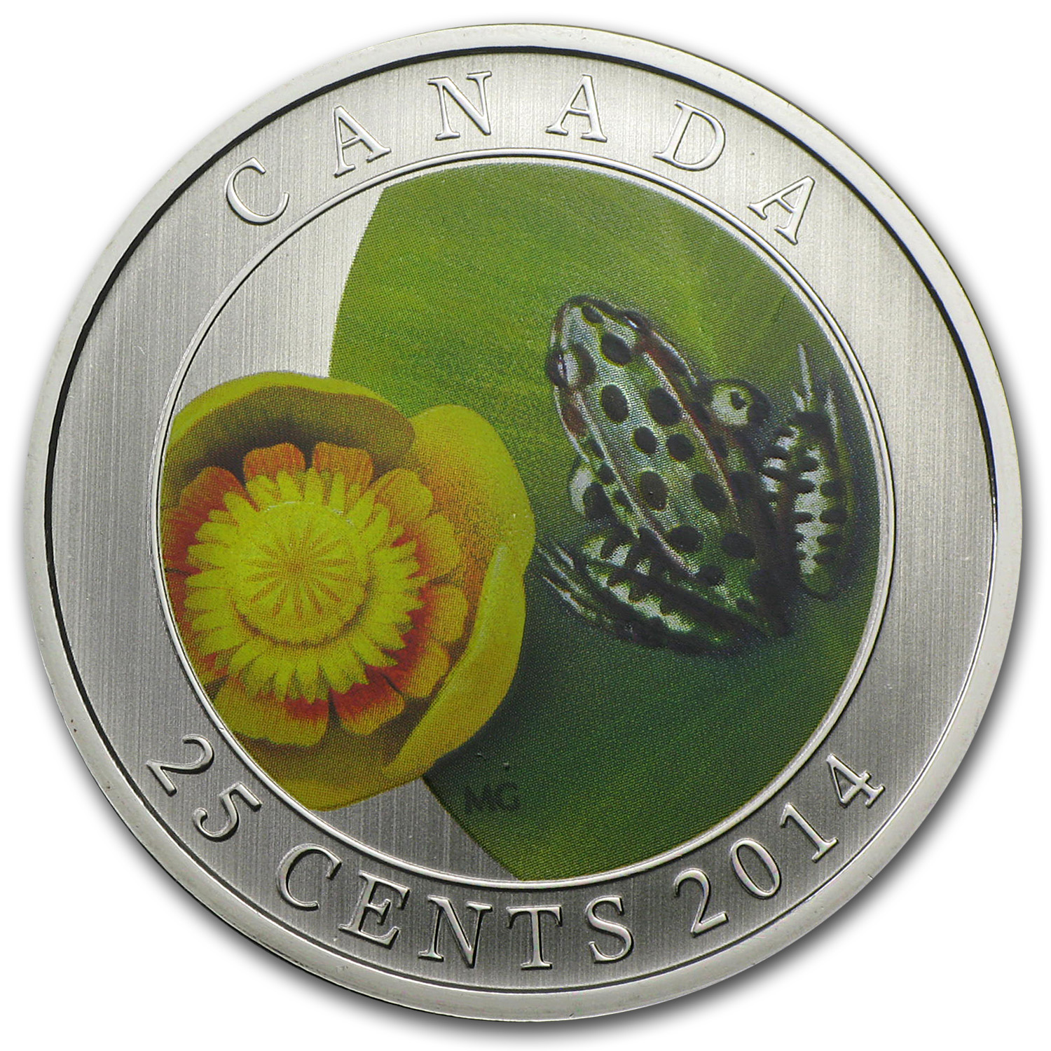 2014 Canada $0.25 Water-Lily and Leopard Frog (Coloured)