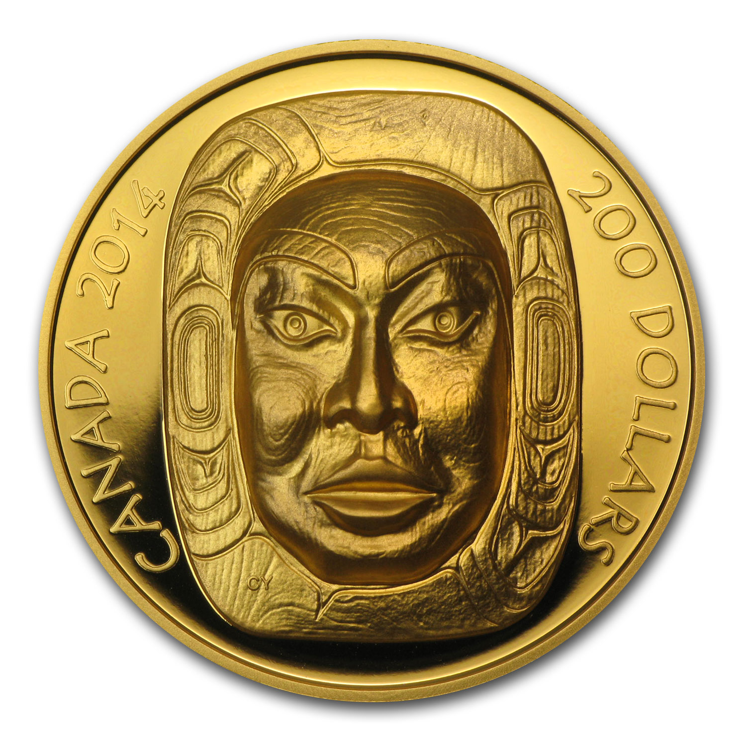 2014 1 oz Gold Canadian $200 Matriarch Moon Mask UHR