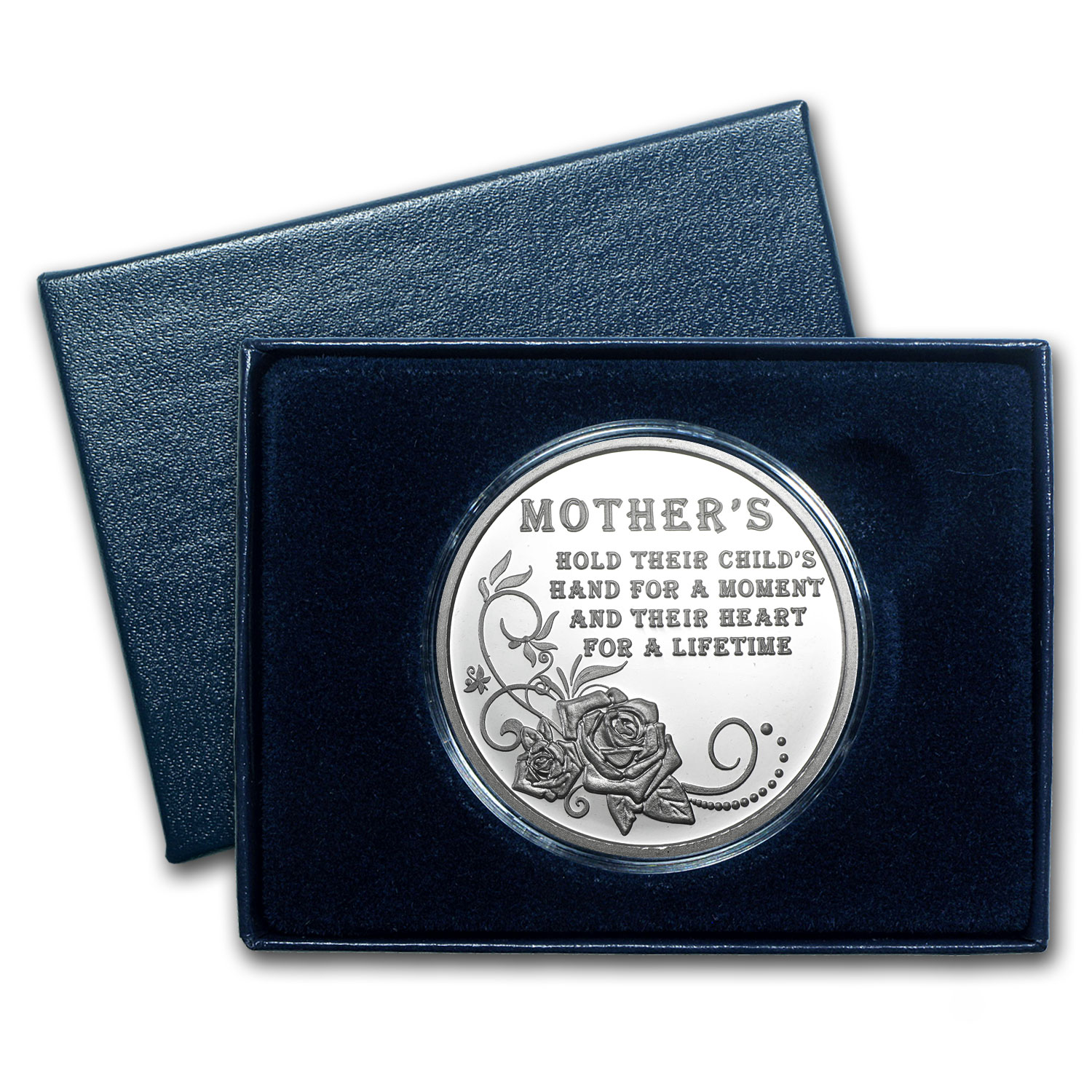 1 oz Happy Mother's Day Silver Round - Rose (w/Box & Cap)