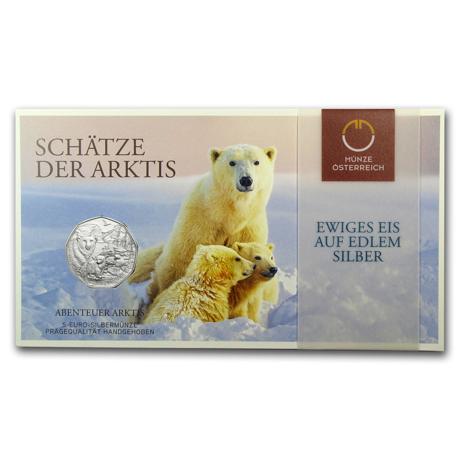 2014 Austria Silver €5 Polar Bear Perfection BU