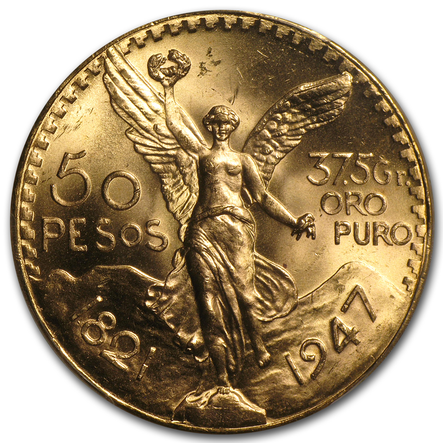 Mexico 1947 50 Pesos Gold Coin - MS-65 PCGS (Secure Plus!)