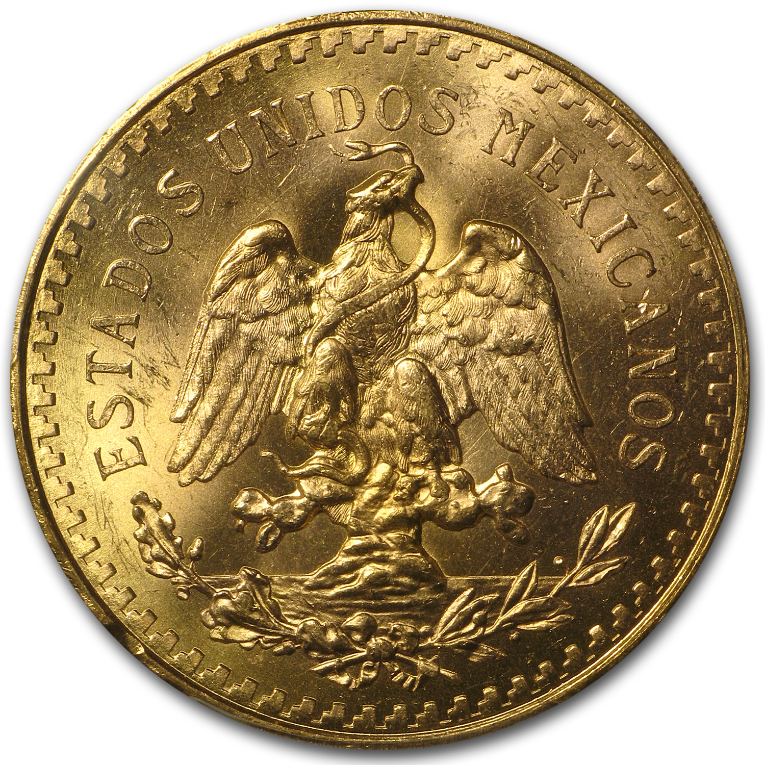 Mexico 1922 50 Pesos Gold Coin - MS-63 PCGS (Secure Plus!)