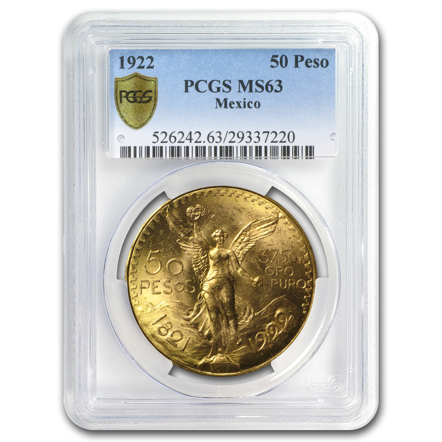 1922 Mexico Gold 50 Pesos MS-63 PCGS (Secure Plus)