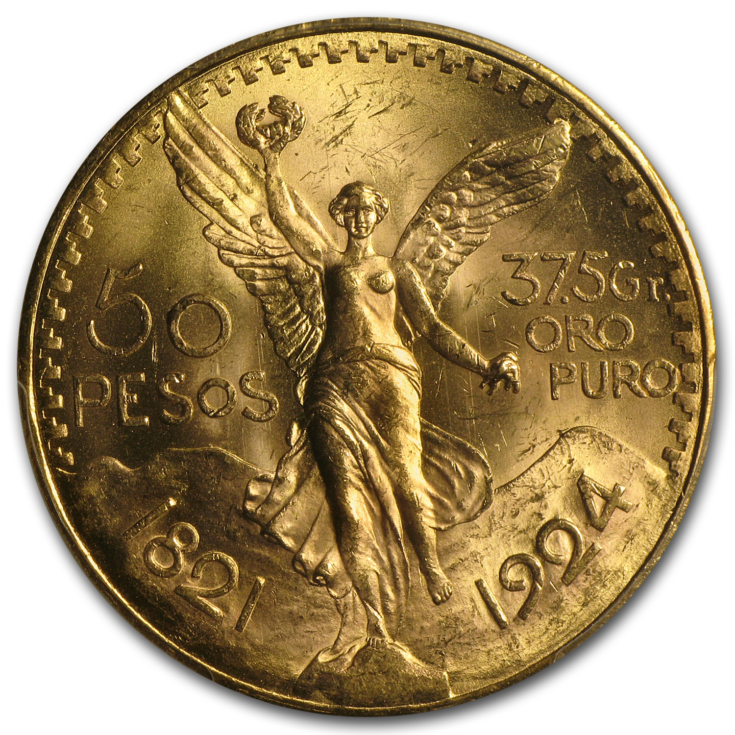 Mexico 1924 50 Pesos Gold Coin - MS-64 PCGS (Secure Plus!)