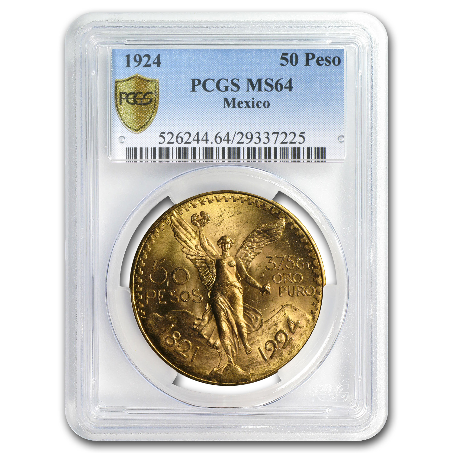 Mexico 1924 50 Pesos Gold MS-64 PCGS (Secure Plus)
