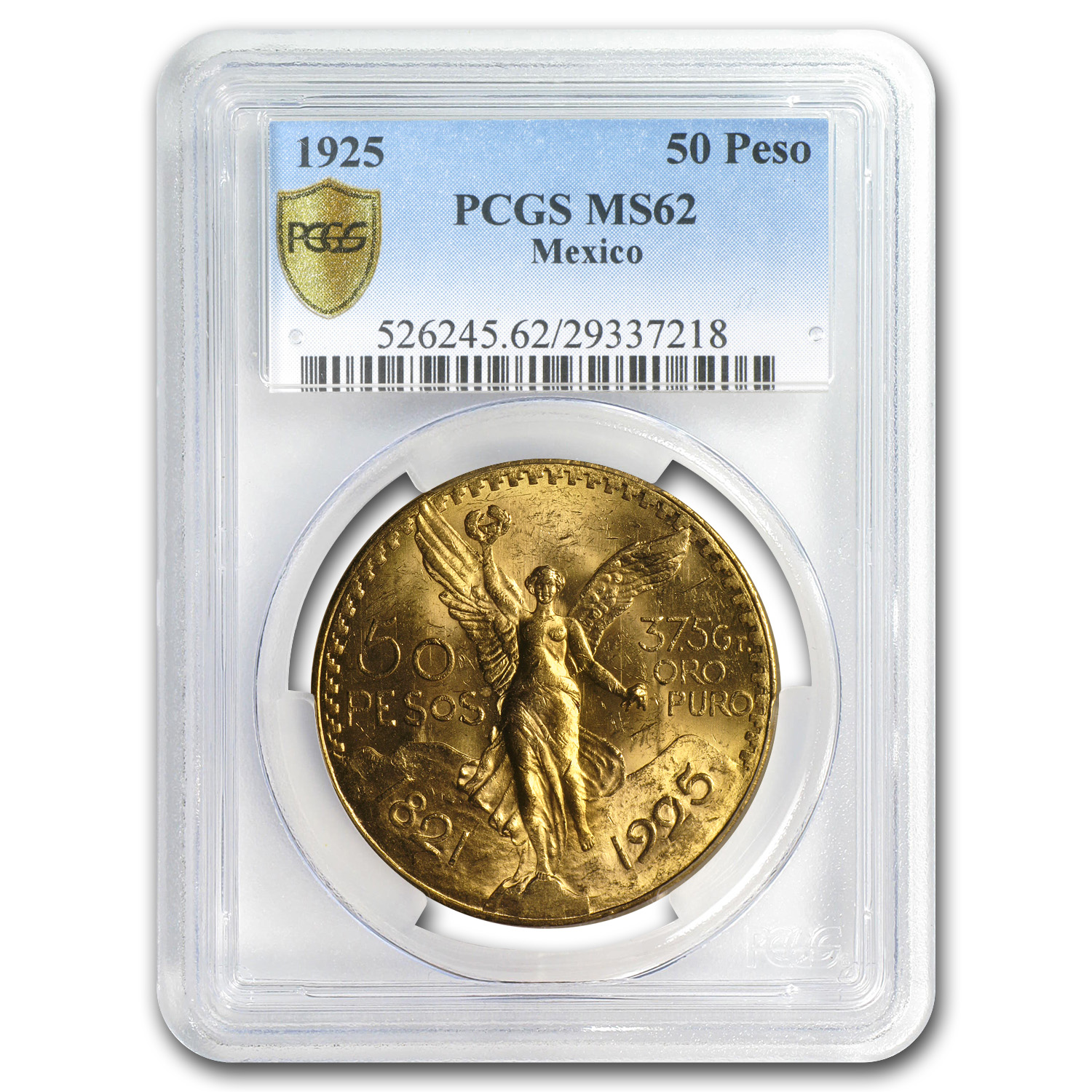 Mexico 1925 50 Pesos Gold Coin - MS-62 PCGS (Secure Plus!)