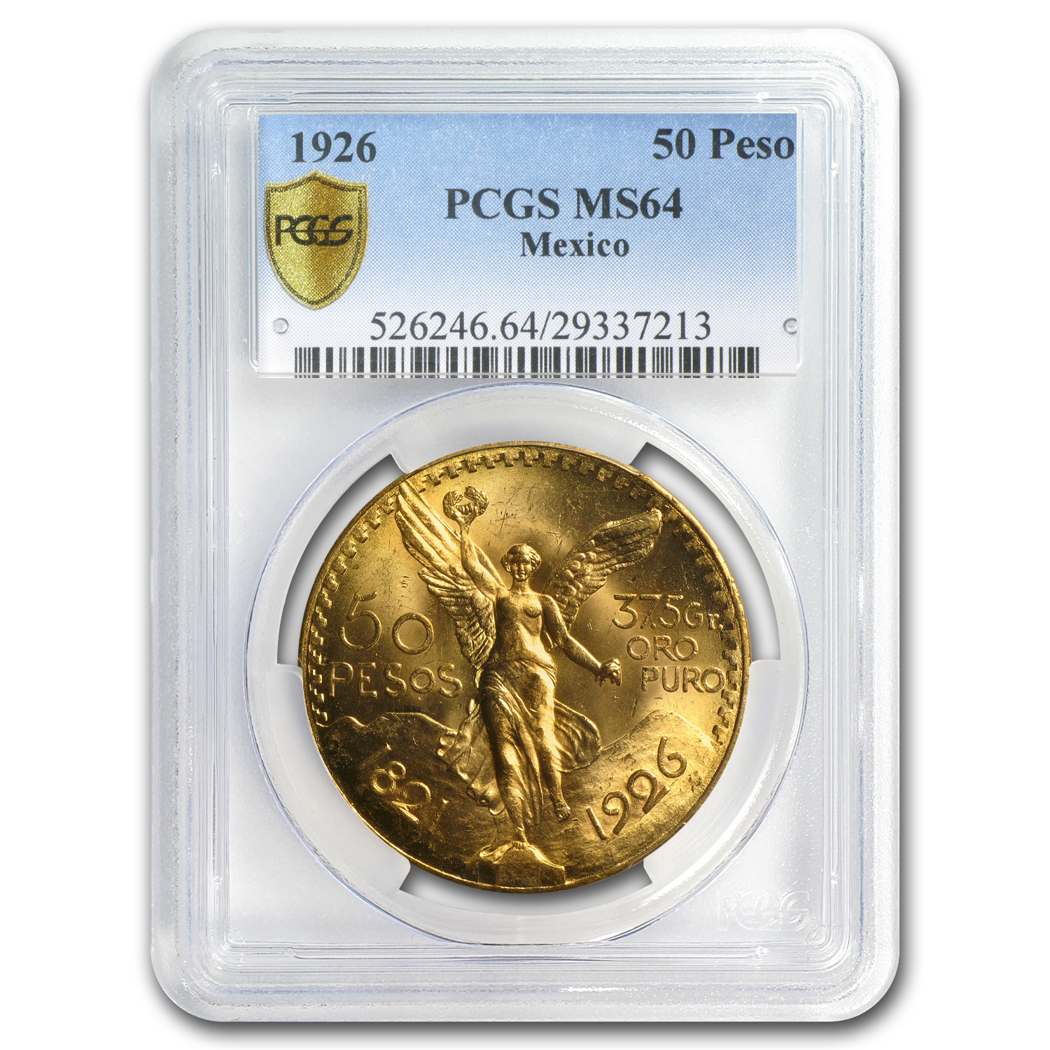 Mexico 1926 50 Pesos Gold Coin - MS-64 PCGS (Secure Plus!)